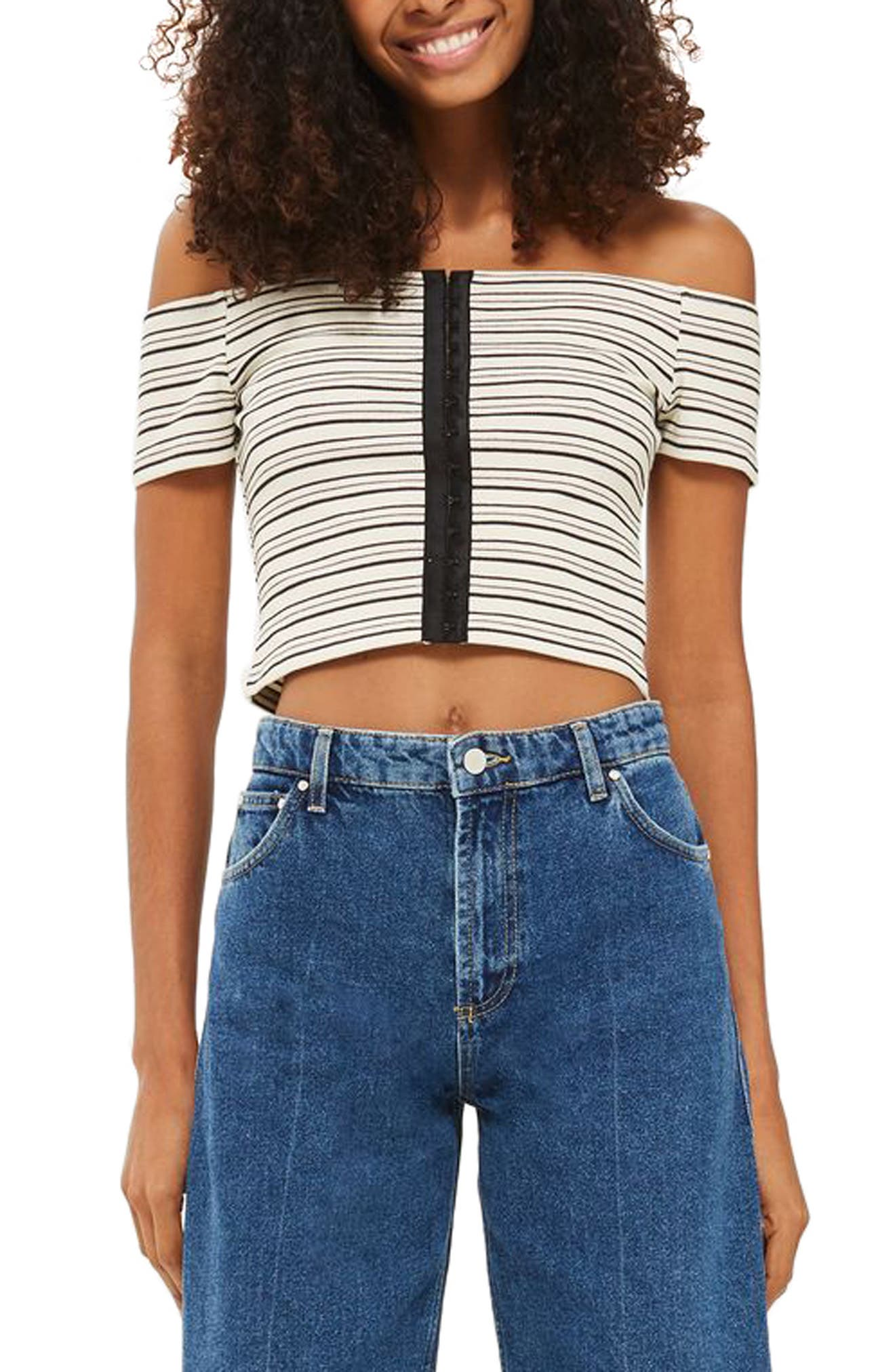 Main Image - Topshop Stripe Off the Shoulder Crop Top (Regular & Petite)