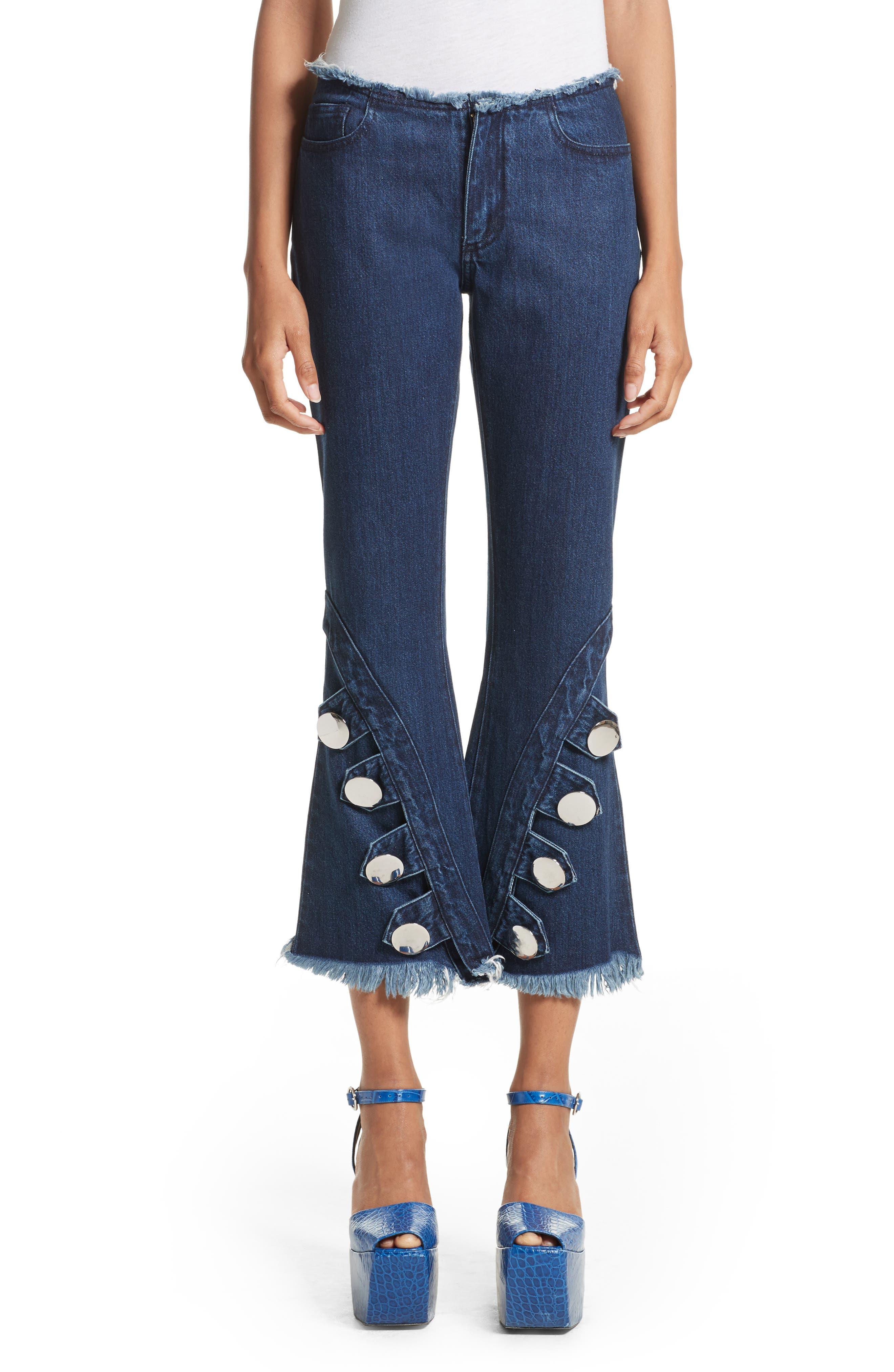 Marques'Almeida Button Trim Crop Flare Jeans,                         Main,                         color, Indigo