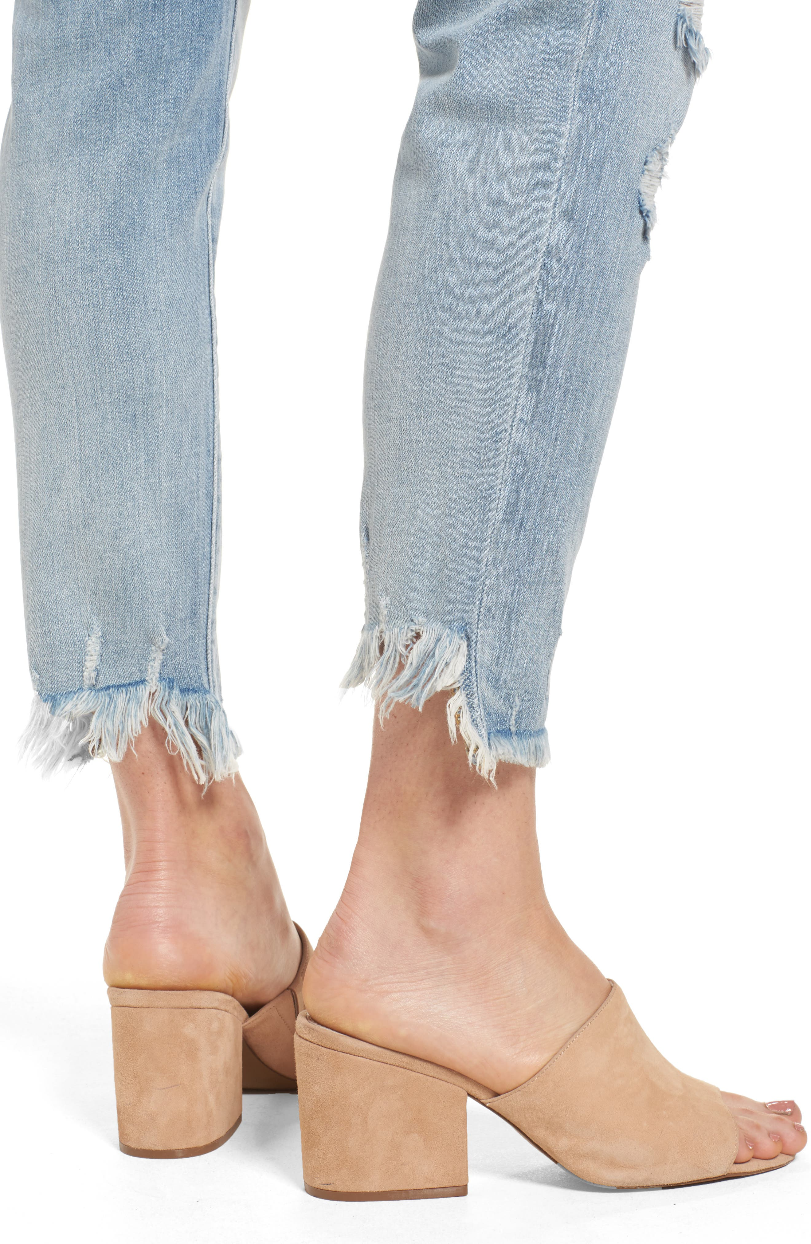 Frayed Hem Easy Fit Ankle Jeans,                             Alternate thumbnail 4, color,                             Maggie