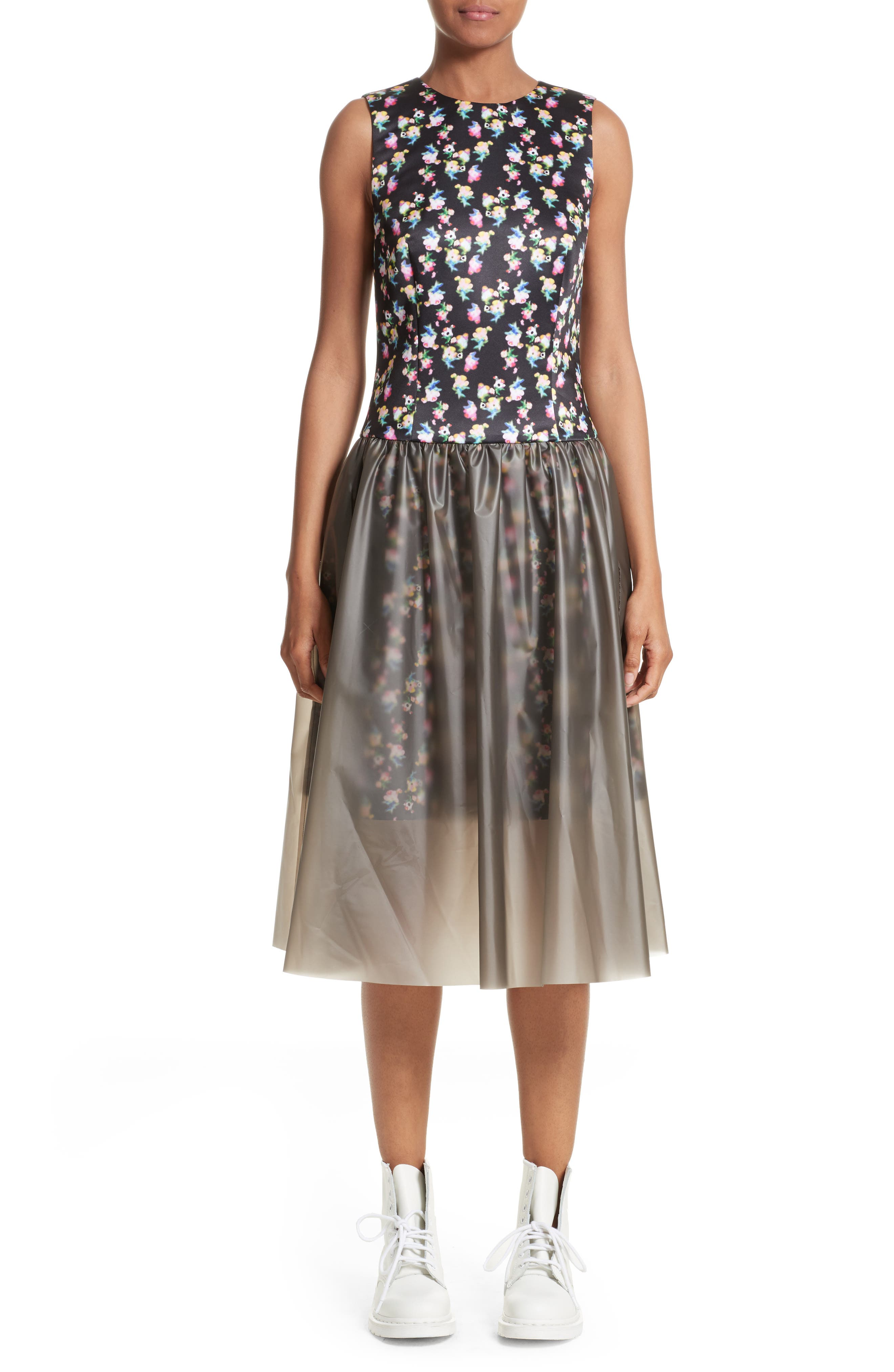 Floral Print Fit & Flare Dress with Vinyl Skirt,                         Main,                         color, Blurred Flowers On Black