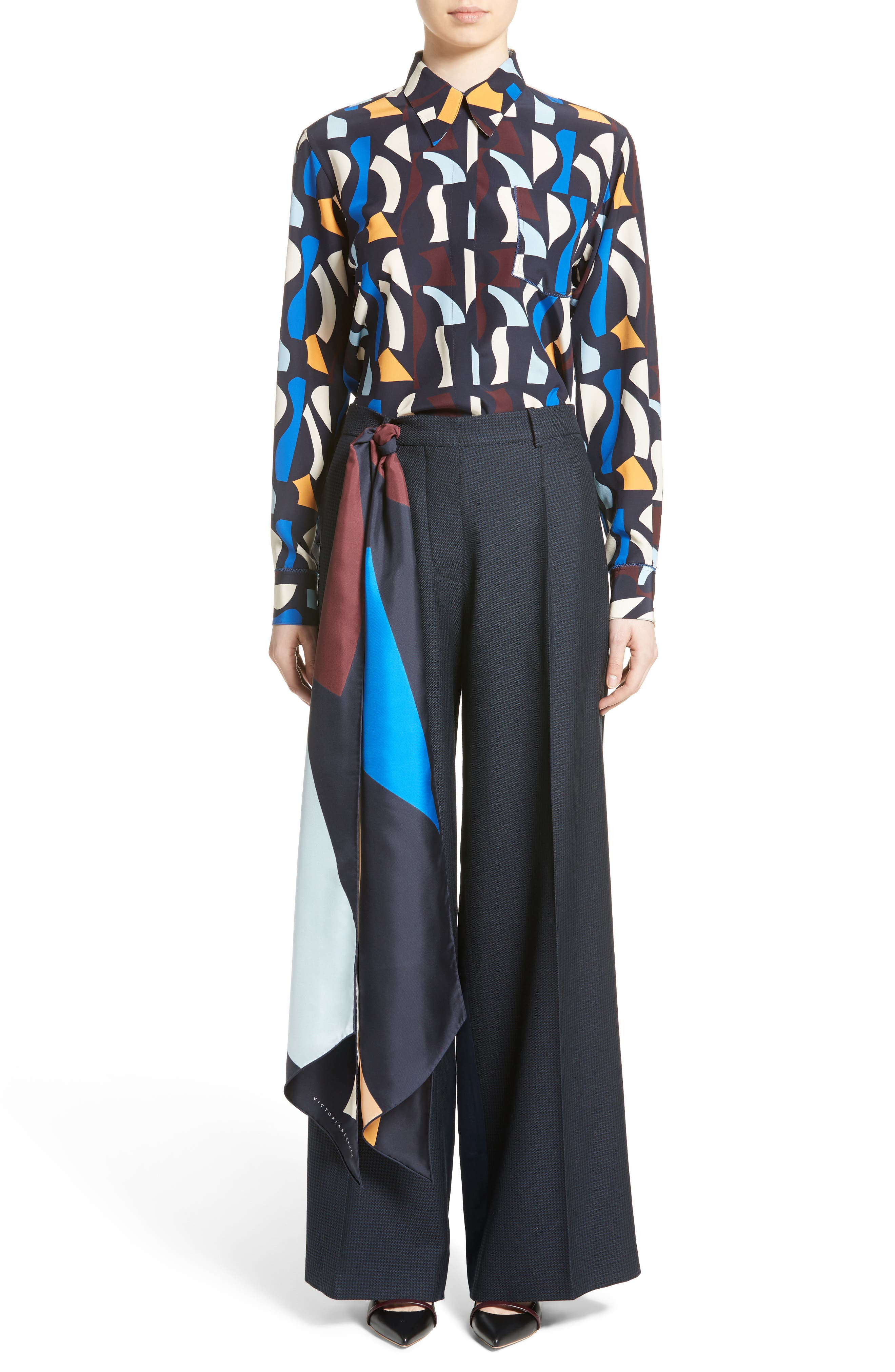 Alternate Image 4  - Victoria Beckham Print Silk Rectangle Scarf