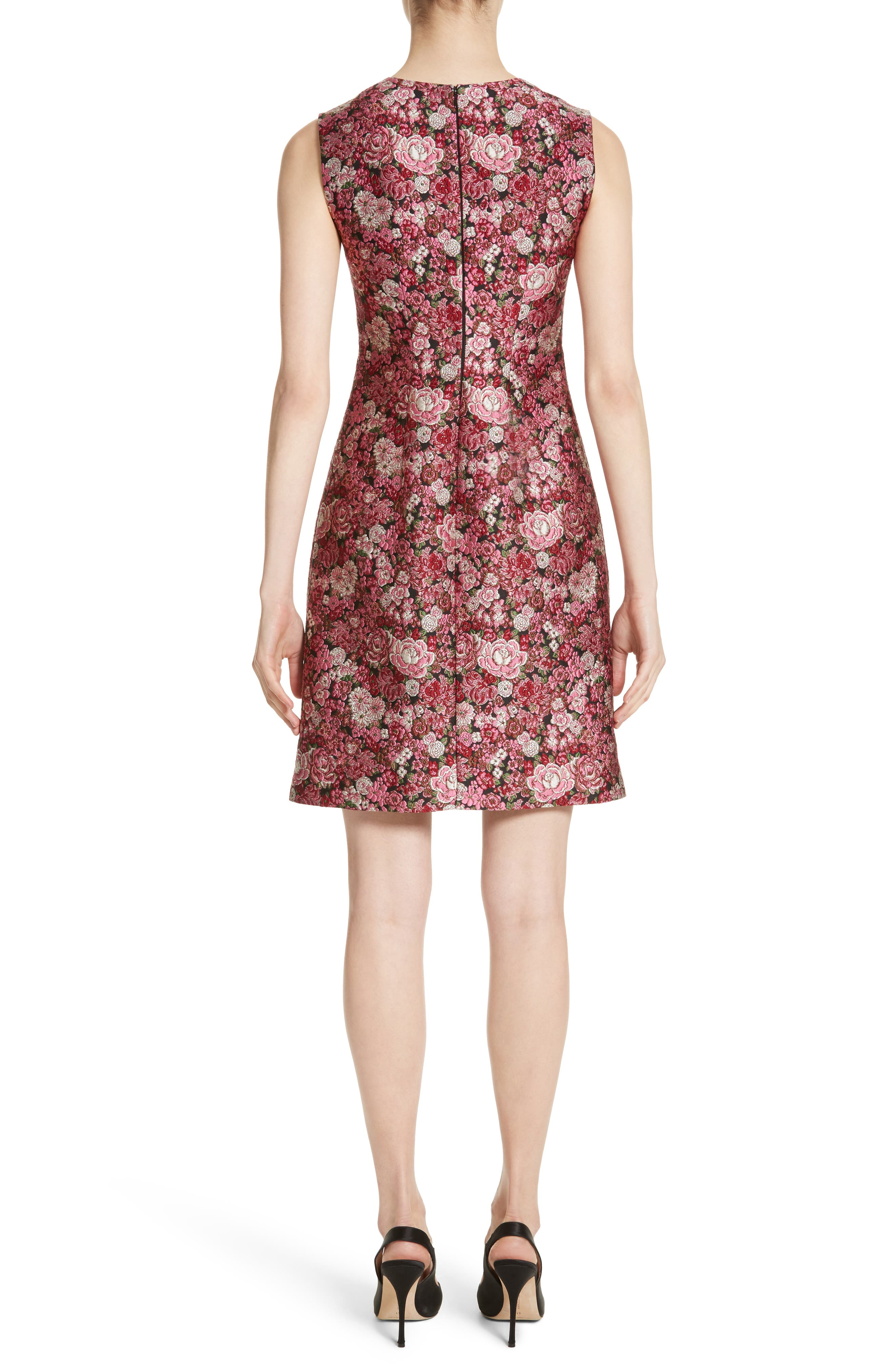 Floral Brocade Dress,                             Alternate thumbnail 2, color,                             Pink Multi