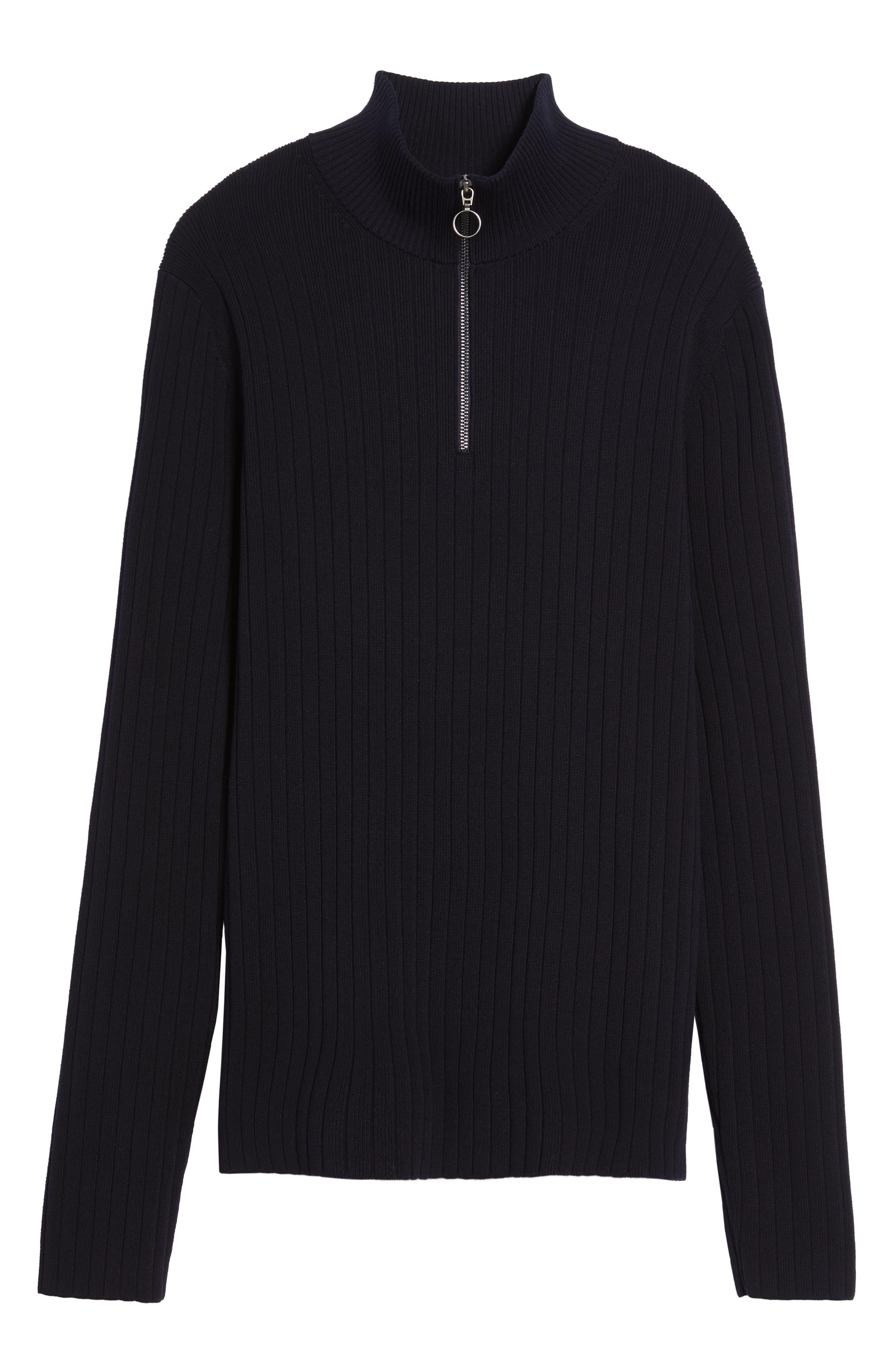 Half Zip Mock Neck Sweater,                             Alternate thumbnail 5, color,                             Coastal