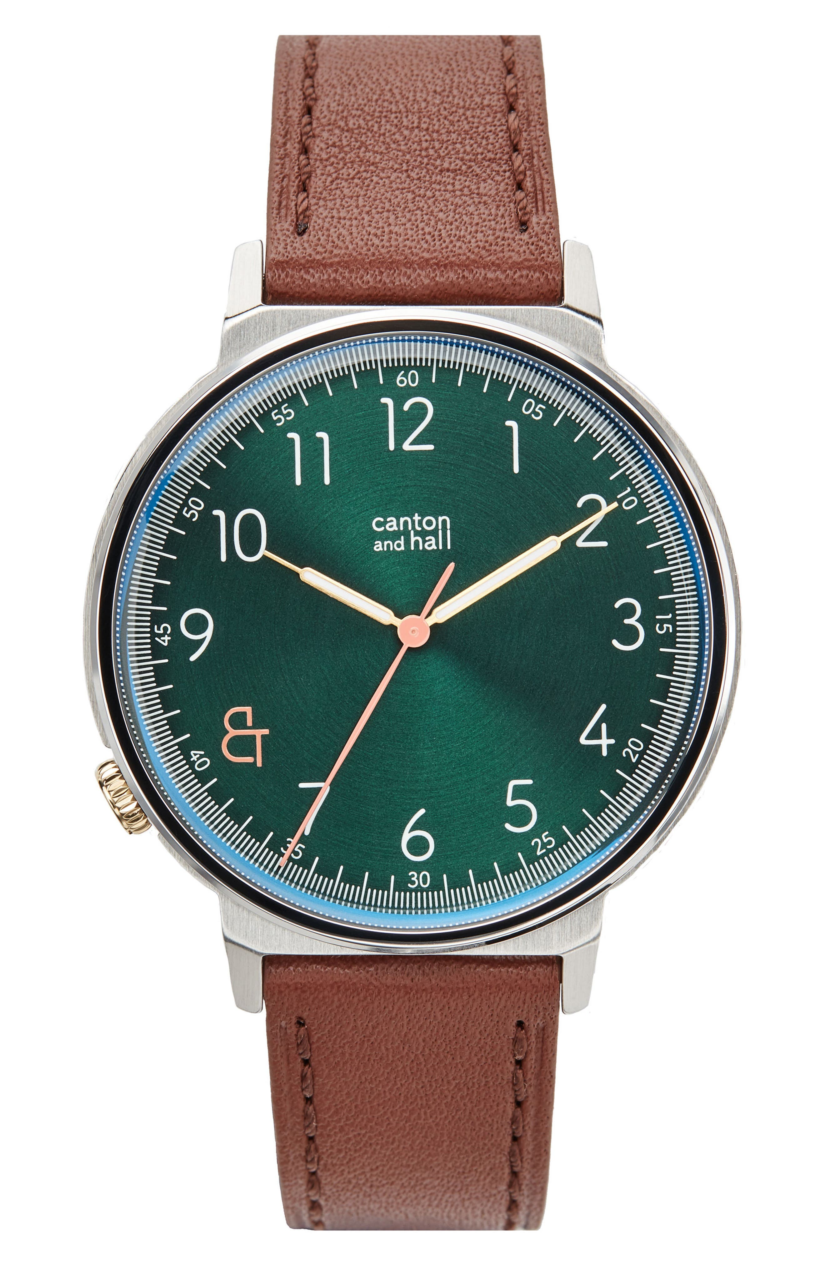 Alternate Image 1 Selected - Canton and Hall Davis Slim Leather Strap Watch, 44mm