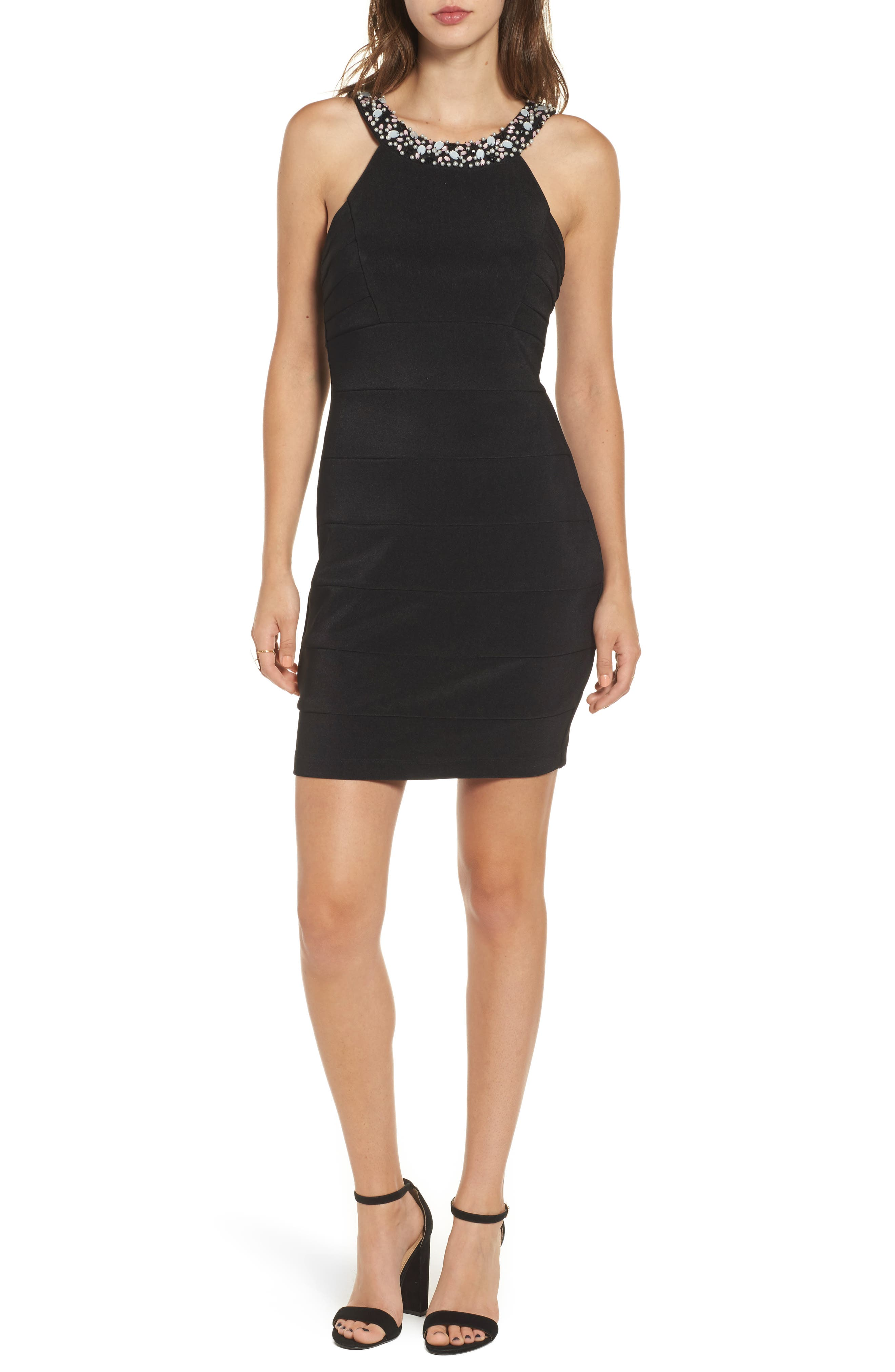 Love Nickie Lew Beaded Body Con Dress,                             Main thumbnail 1, color,                             Black