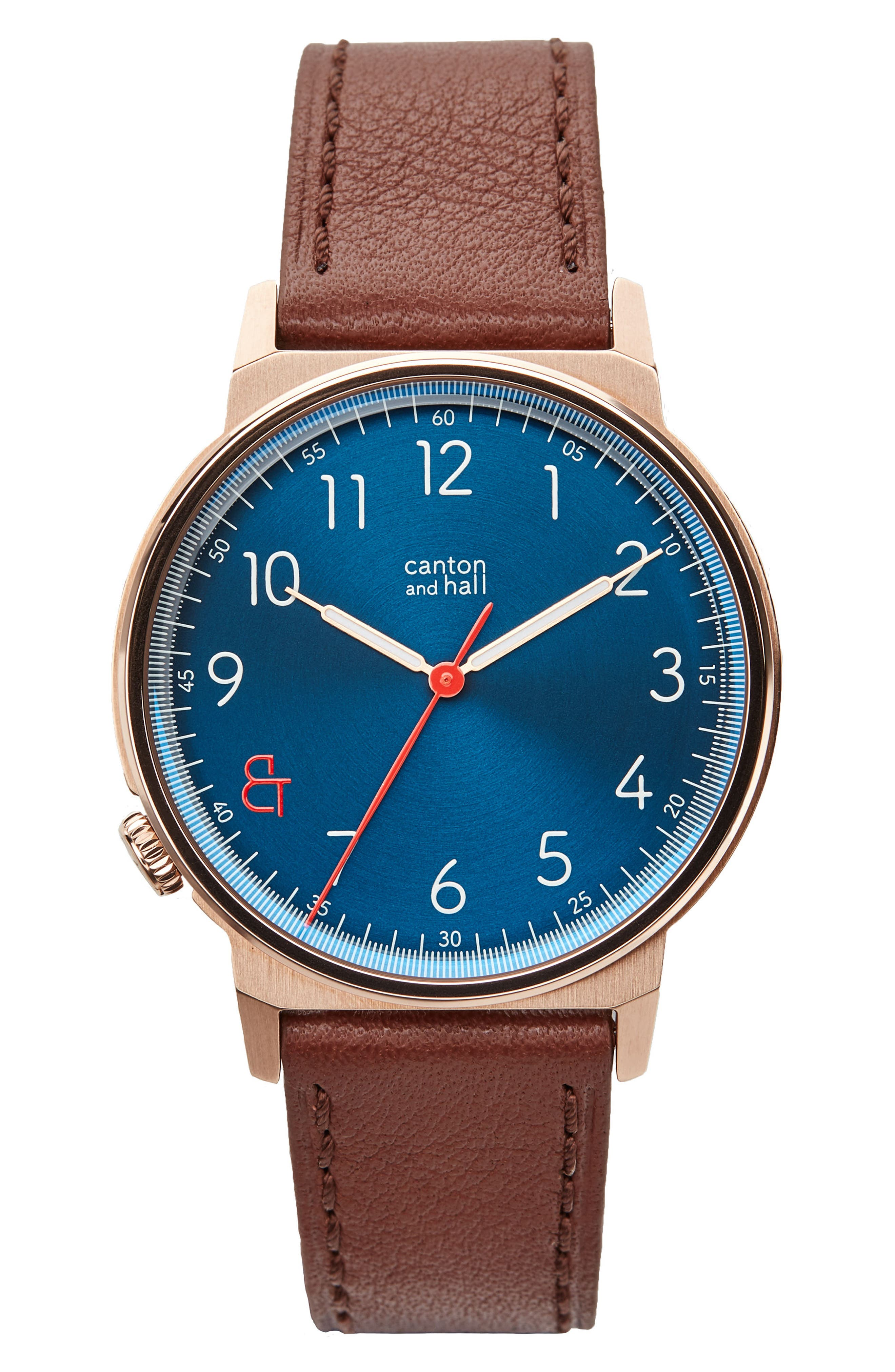 Davis Slim Leather Strap Watch, 40mm,                             Main thumbnail 1, color,                             Navy/ Brown