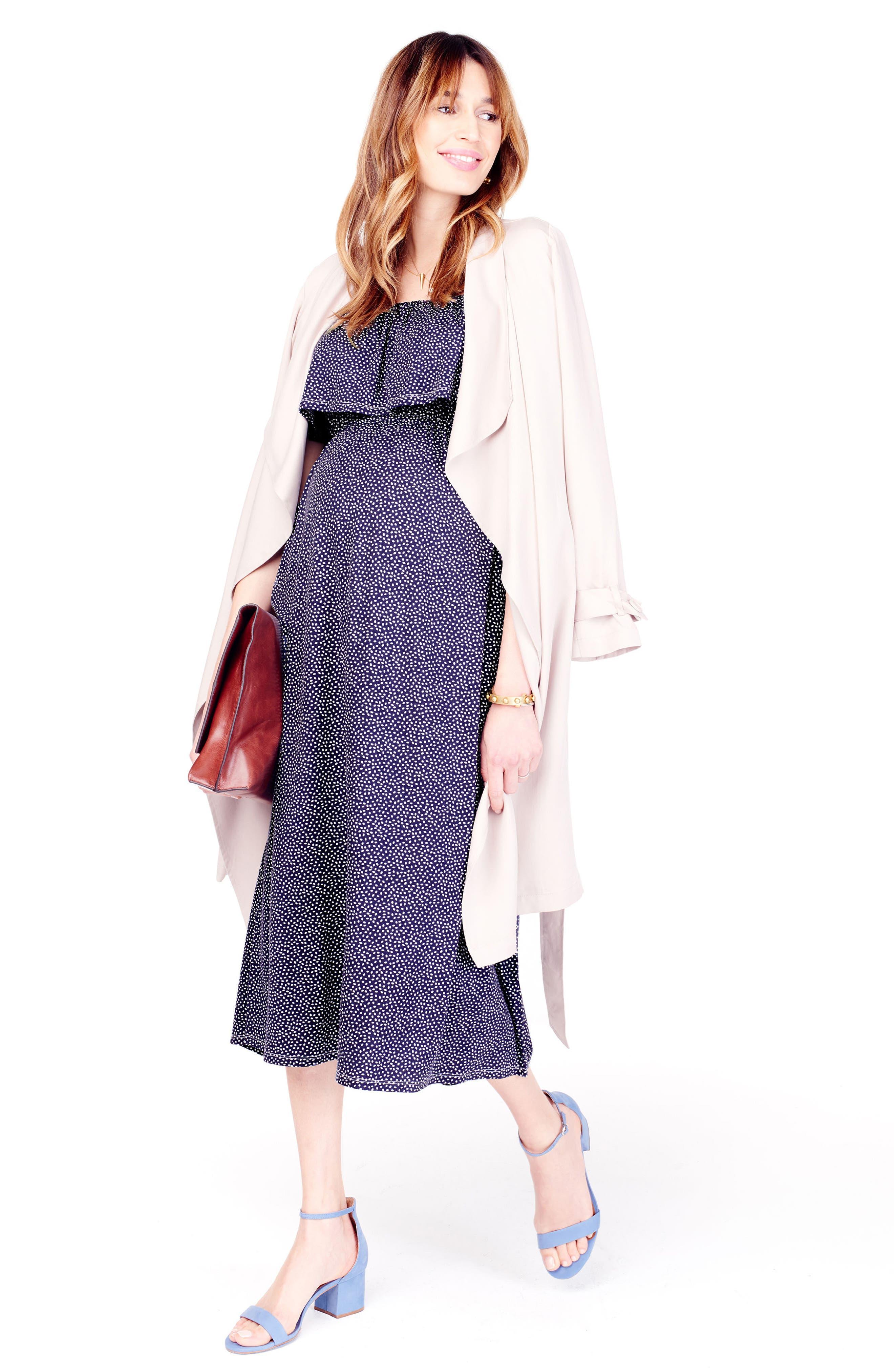 Off the Shoulder Maternity Midi Dress,                             Alternate thumbnail 2, color,                             Navy Tossed Petal