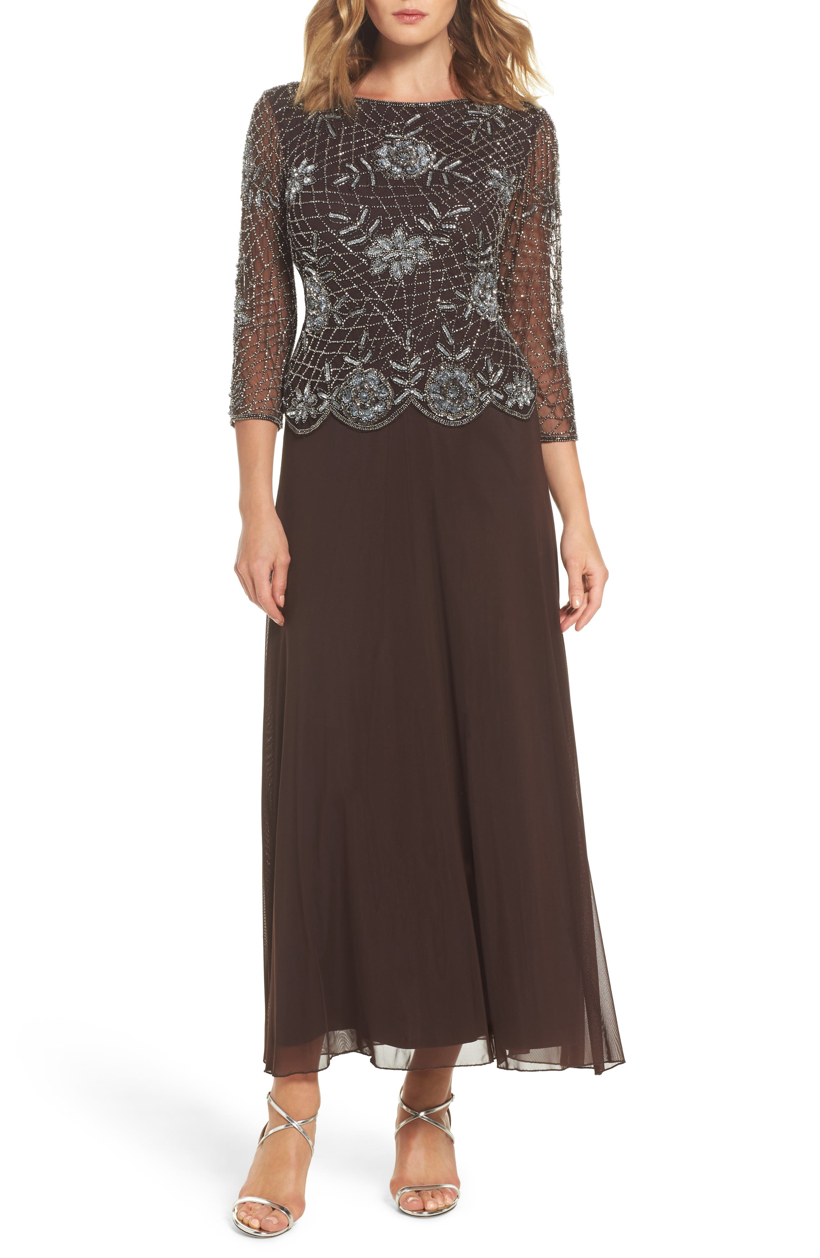 Embellished Mesh Gown,                         Main,                         color, Chocolate