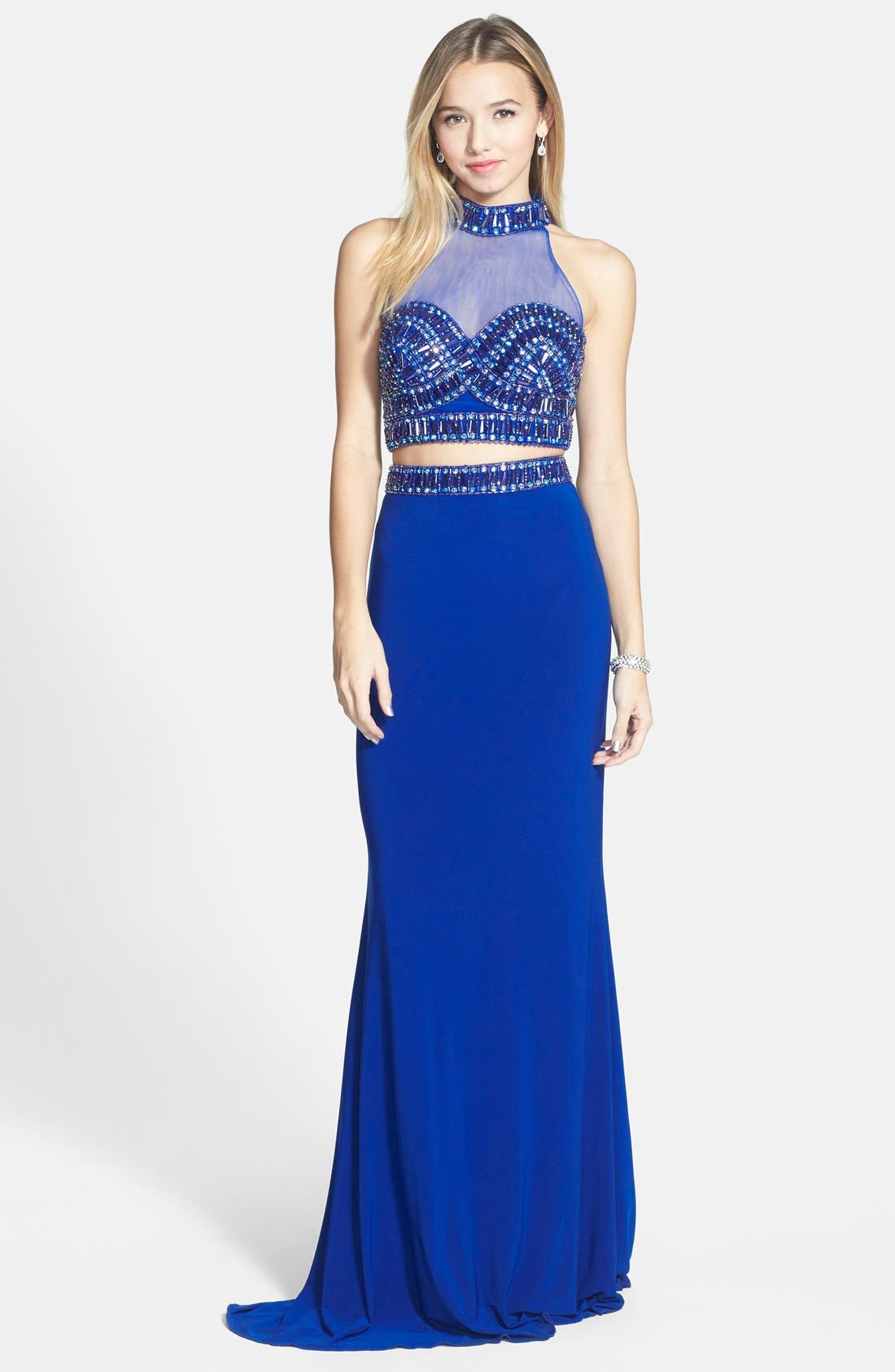 Embellished Two-Piece Jersey Gown,                         Main,                         color, Royal