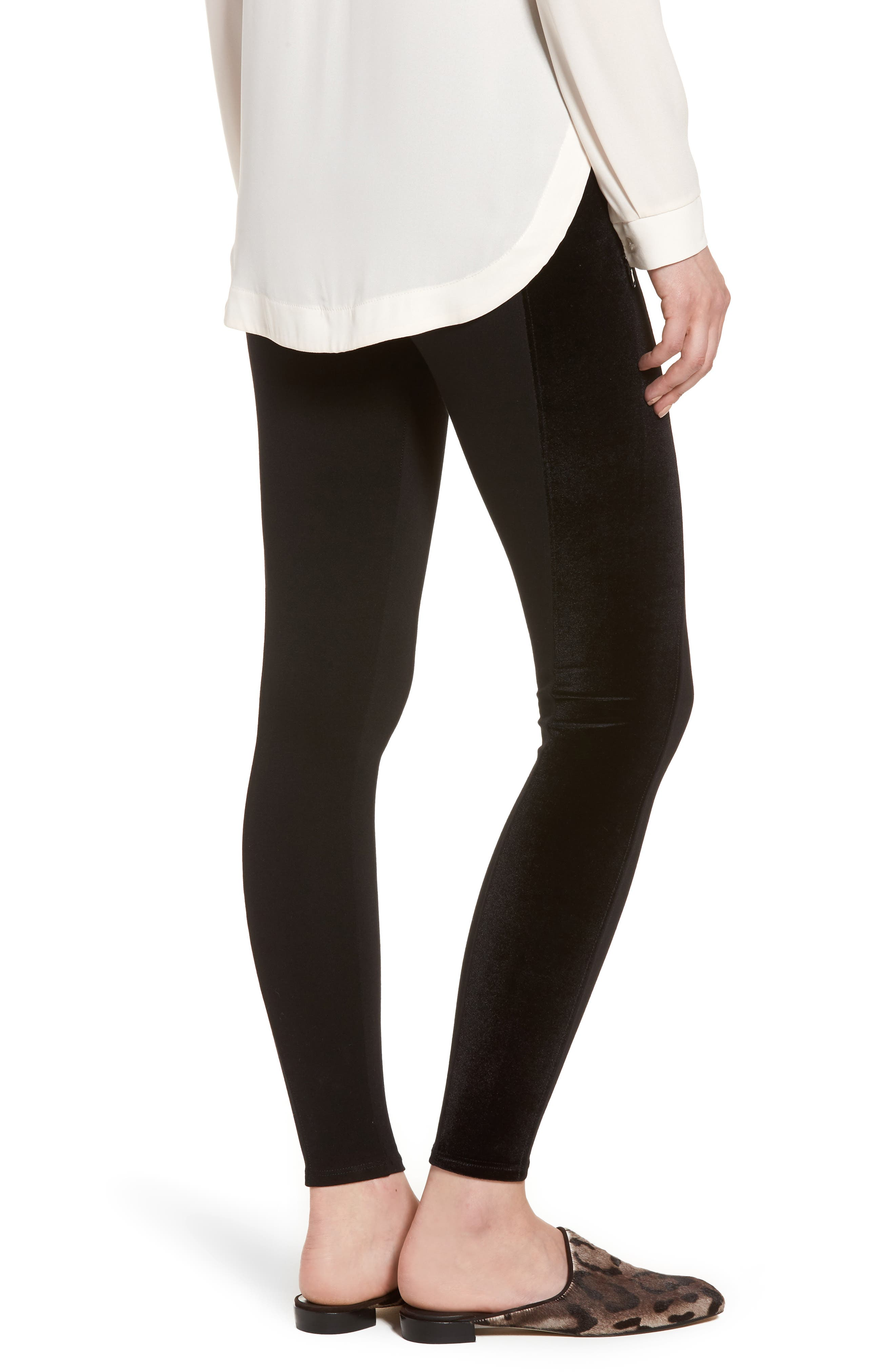 Starburst Zip Combo Leggings,                             Alternate thumbnail 2, color,                             Black