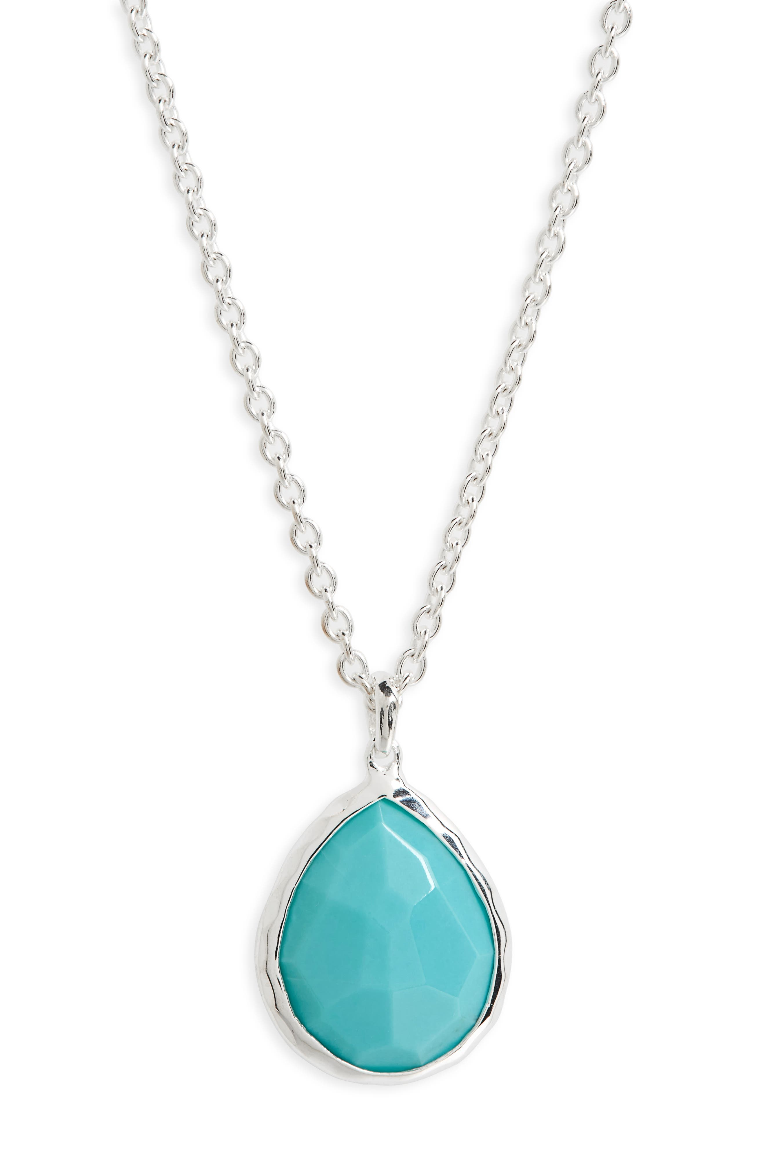 'Wonderland' Mini Teardrop Pendant Necklace,                         Main,                         color, Sterling Silver/ Turquoise