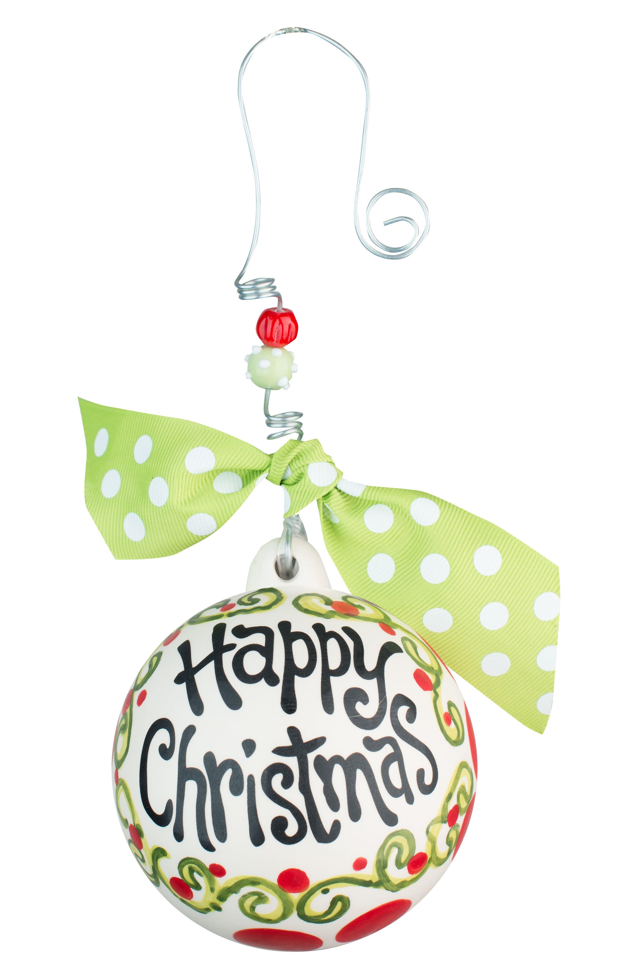 Happy Christmas Ceramic Ball Ornament,                         Main,                         color, Red/ Multi