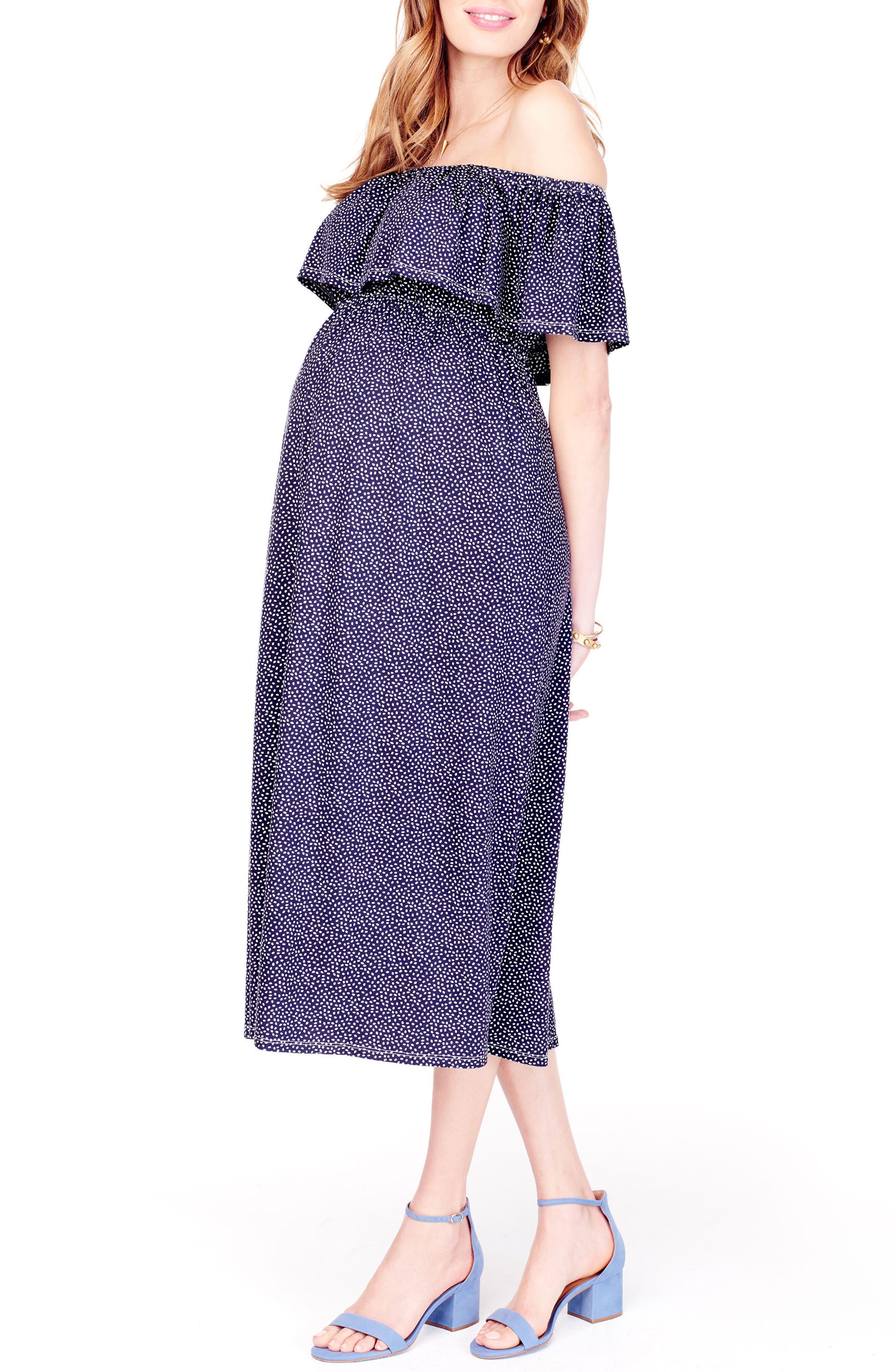 Off the Shoulder Maternity Midi Dress,                             Alternate thumbnail 4, color,                             Navy Tossed Petal