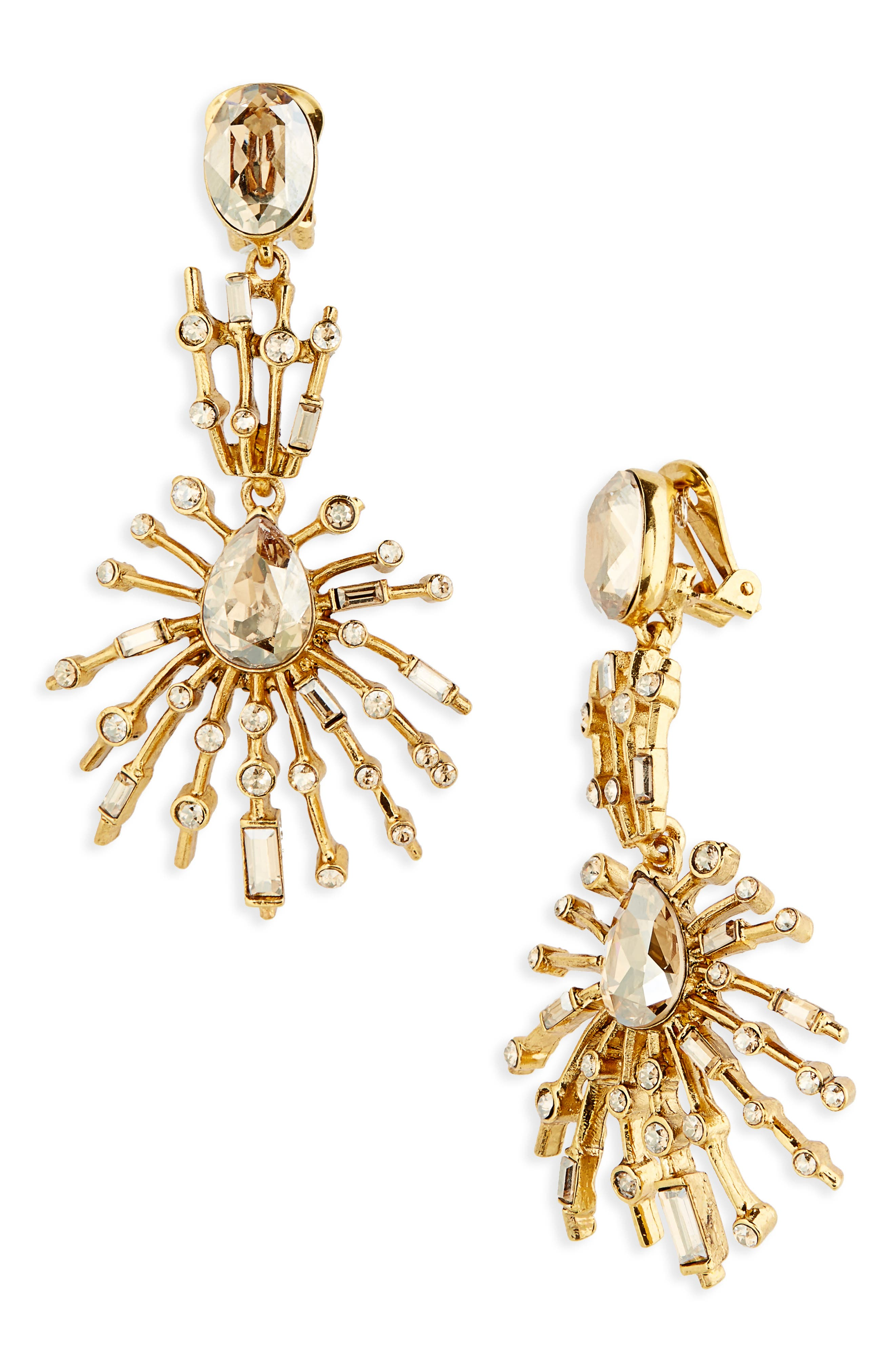Oscar de le Renta Radial Crystal Clip Earrings