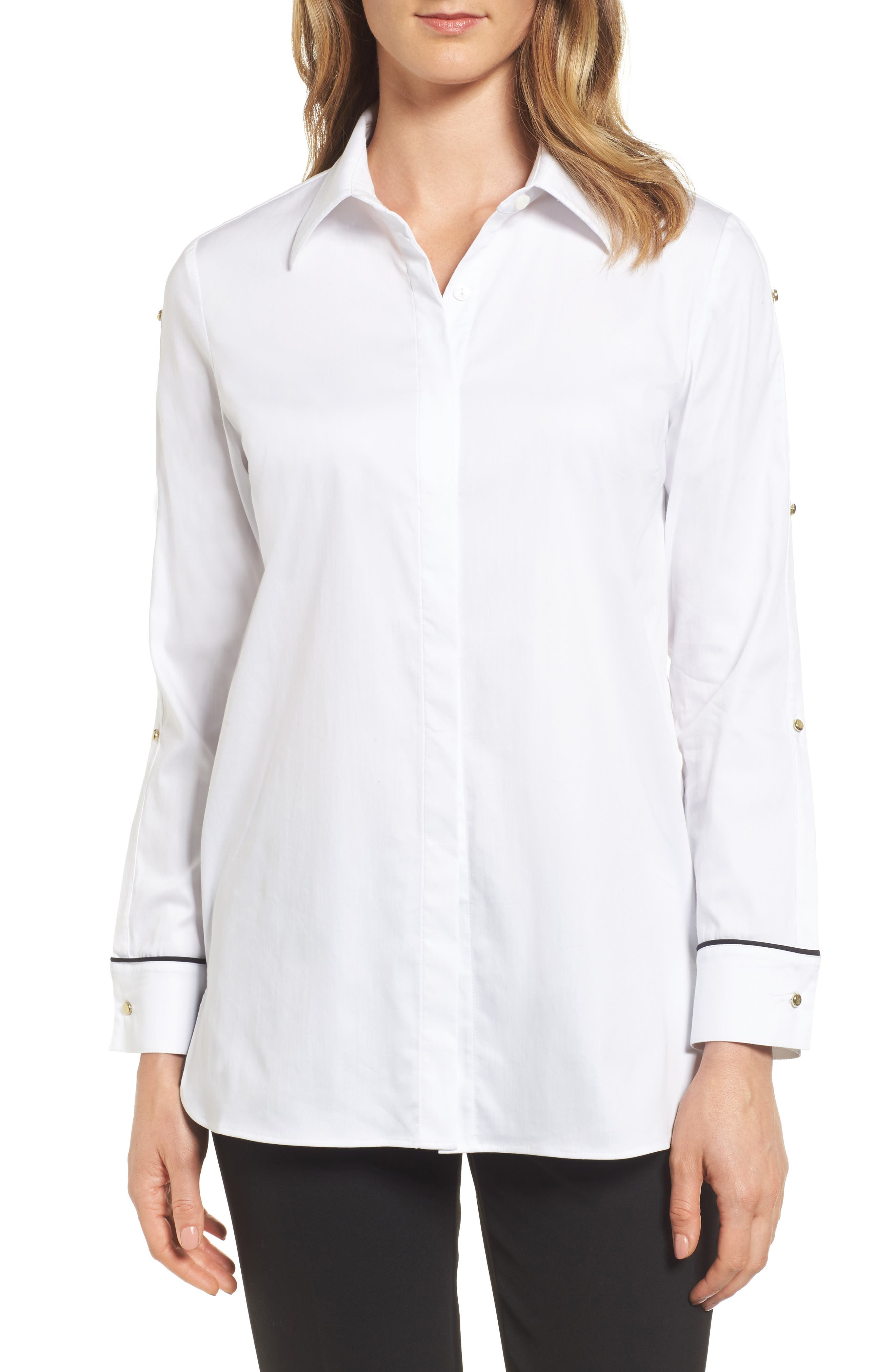 Split Sleeve Shirt,                         Main,                         color, White/ Black