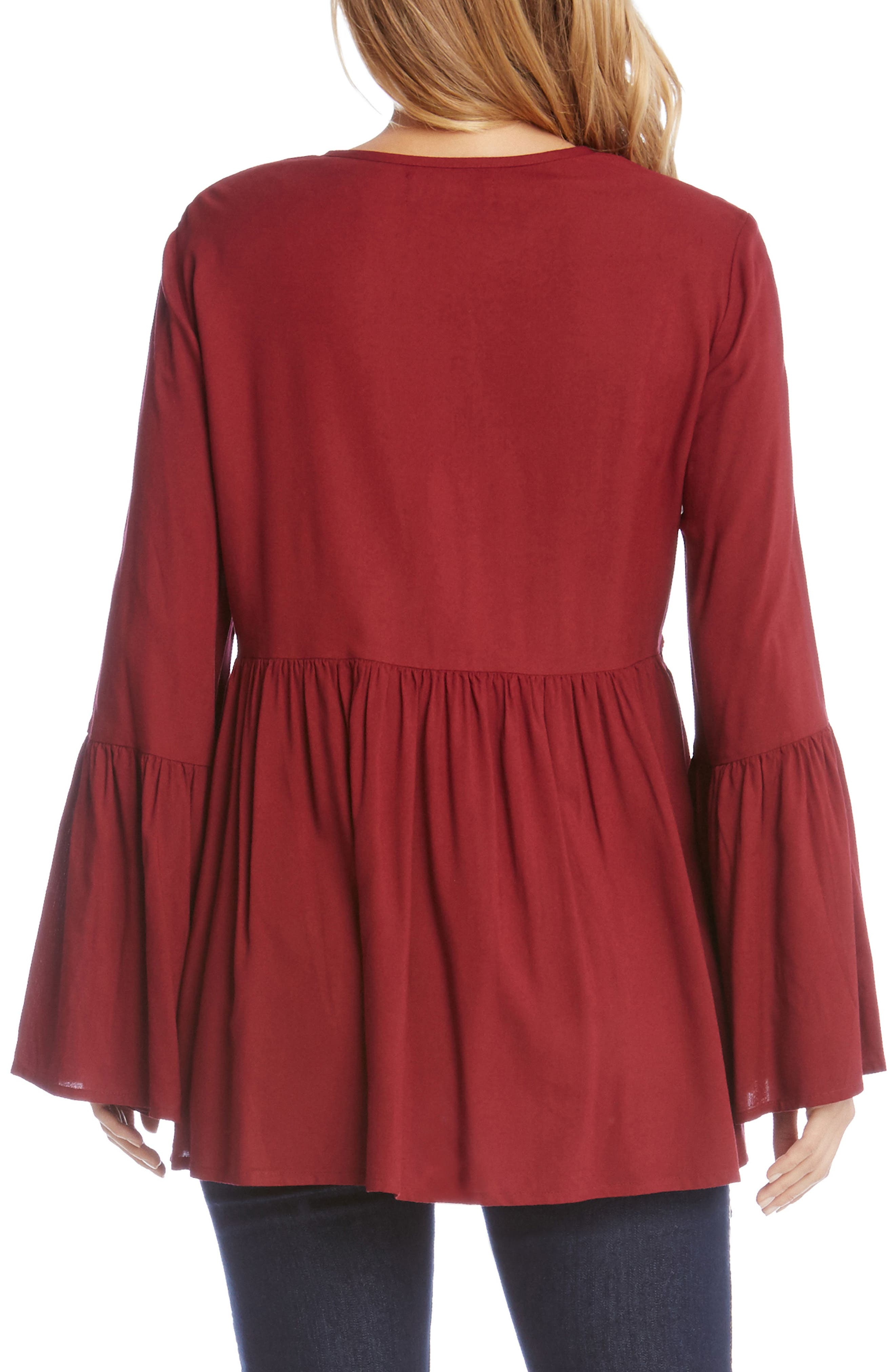 Embroidered Bell Sleeve Top,                             Alternate thumbnail 2, color,                             Wine