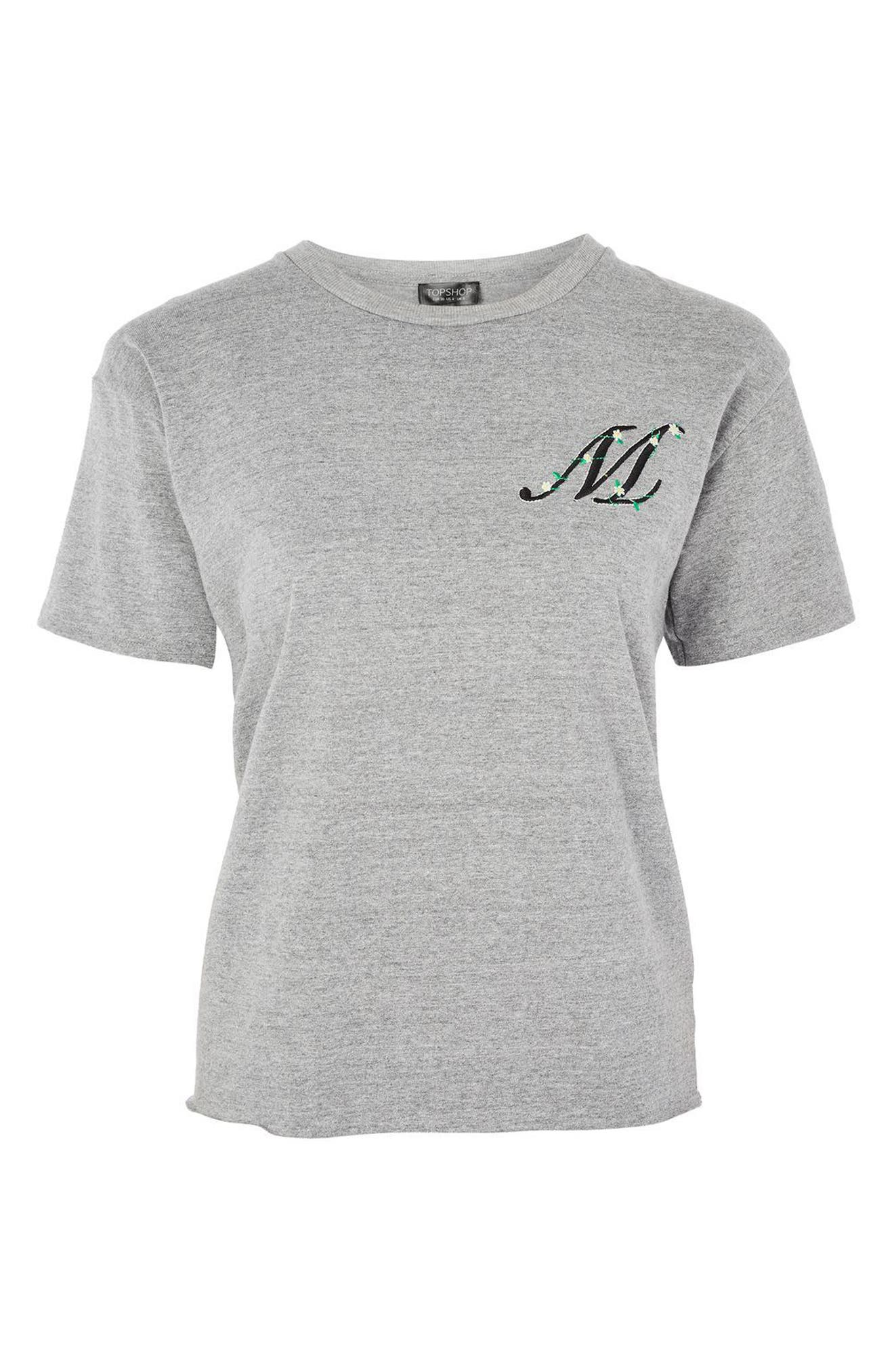 Alternate Image 3  - Topshop Initial Embroidered Tee