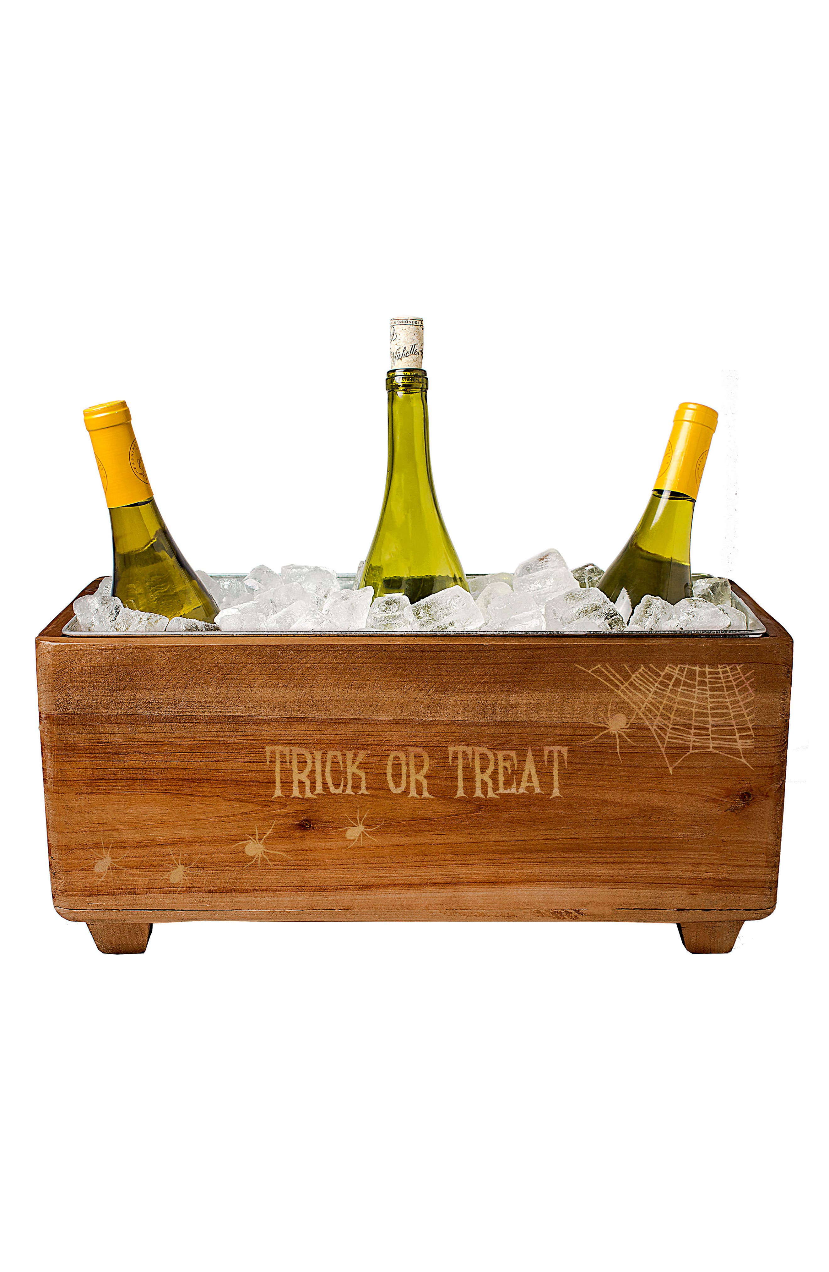 Trick or Treat Wood Wine Trough,                             Alternate thumbnail 2, color,                             Brown