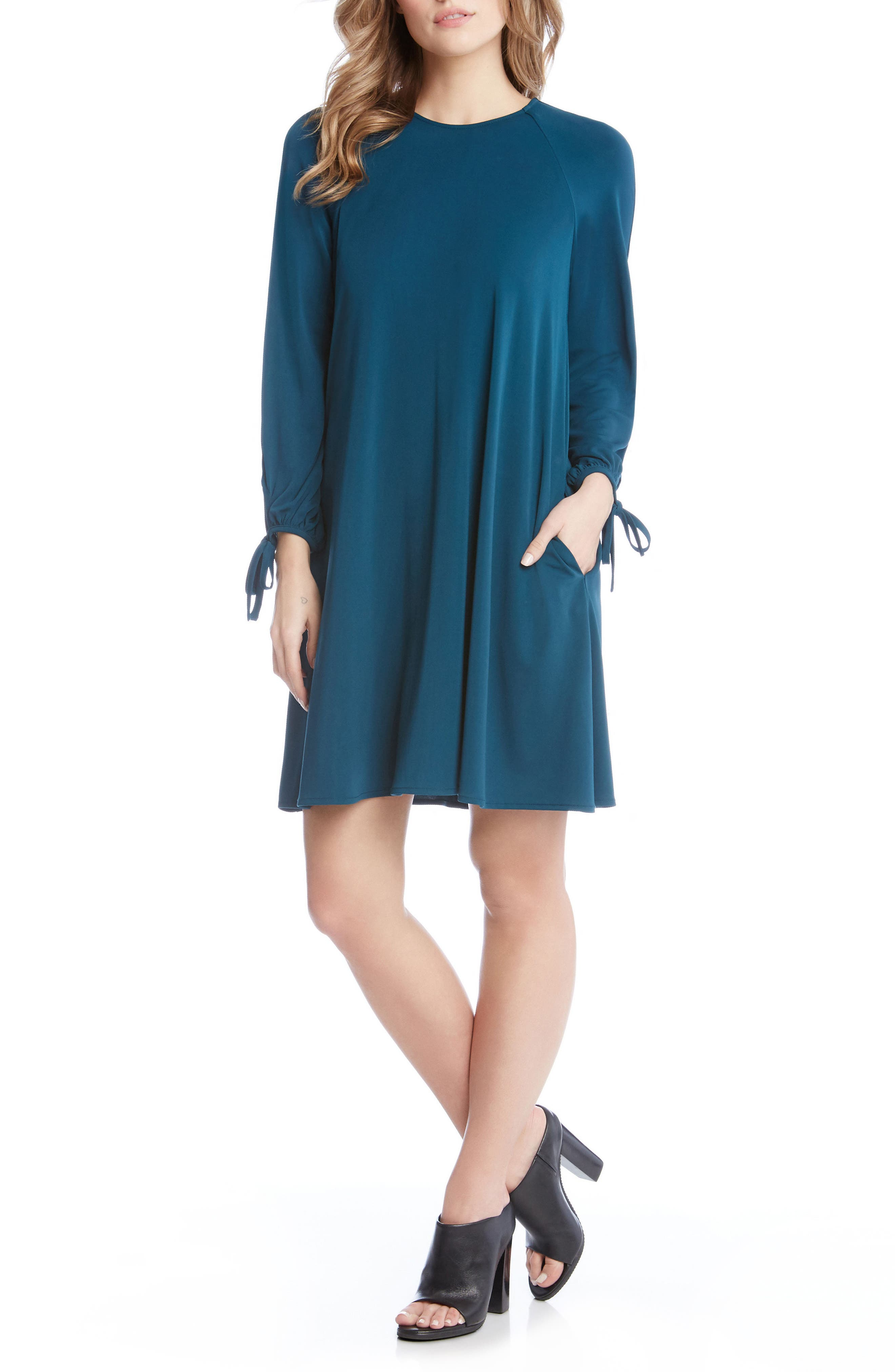 Tie Sleeve Shift Dress,                         Main,                         color, Teal