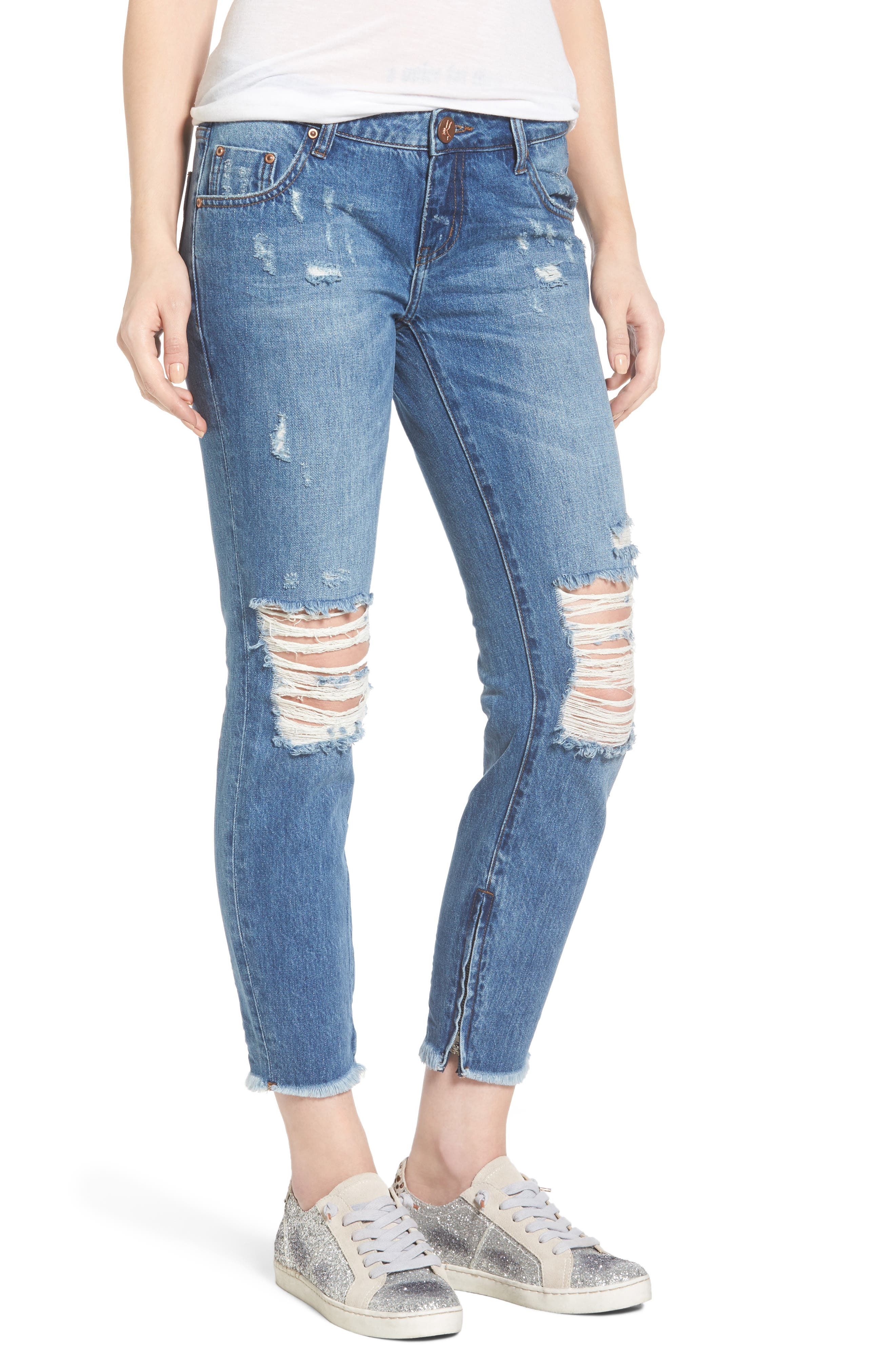 One Teaspoon Freebirds Ripped Crop Skinny Jeans (Pacifica)