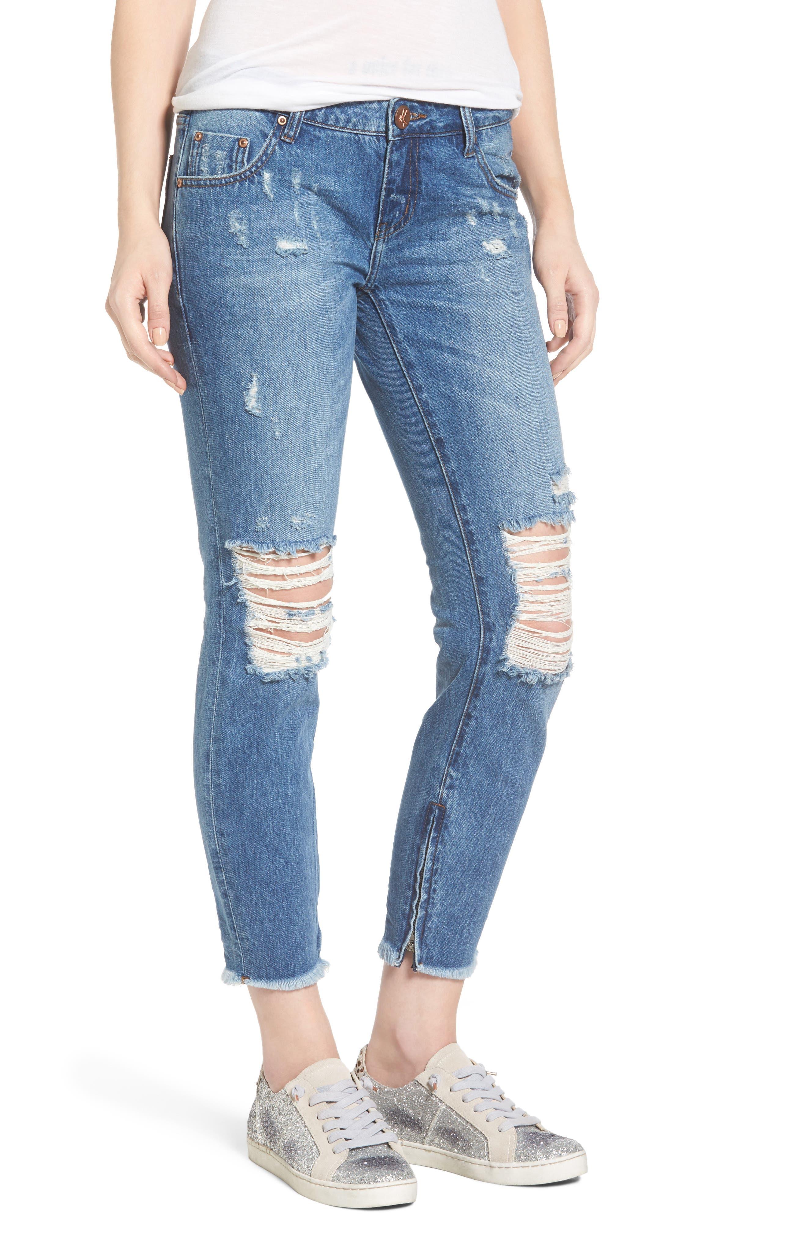 One Teaspoon Freebirds Ripped Crop Skinny Jeans (Pacifica)