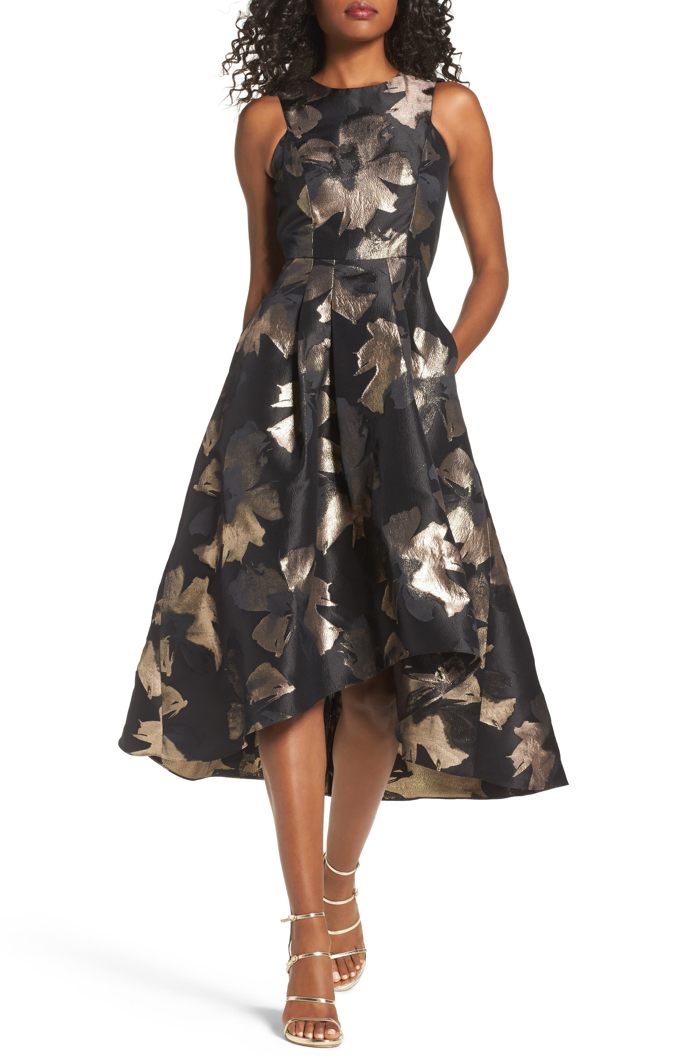 Coraline Brocade High/Low Gown,                         Main,                         color, Jet/ Gold Combo