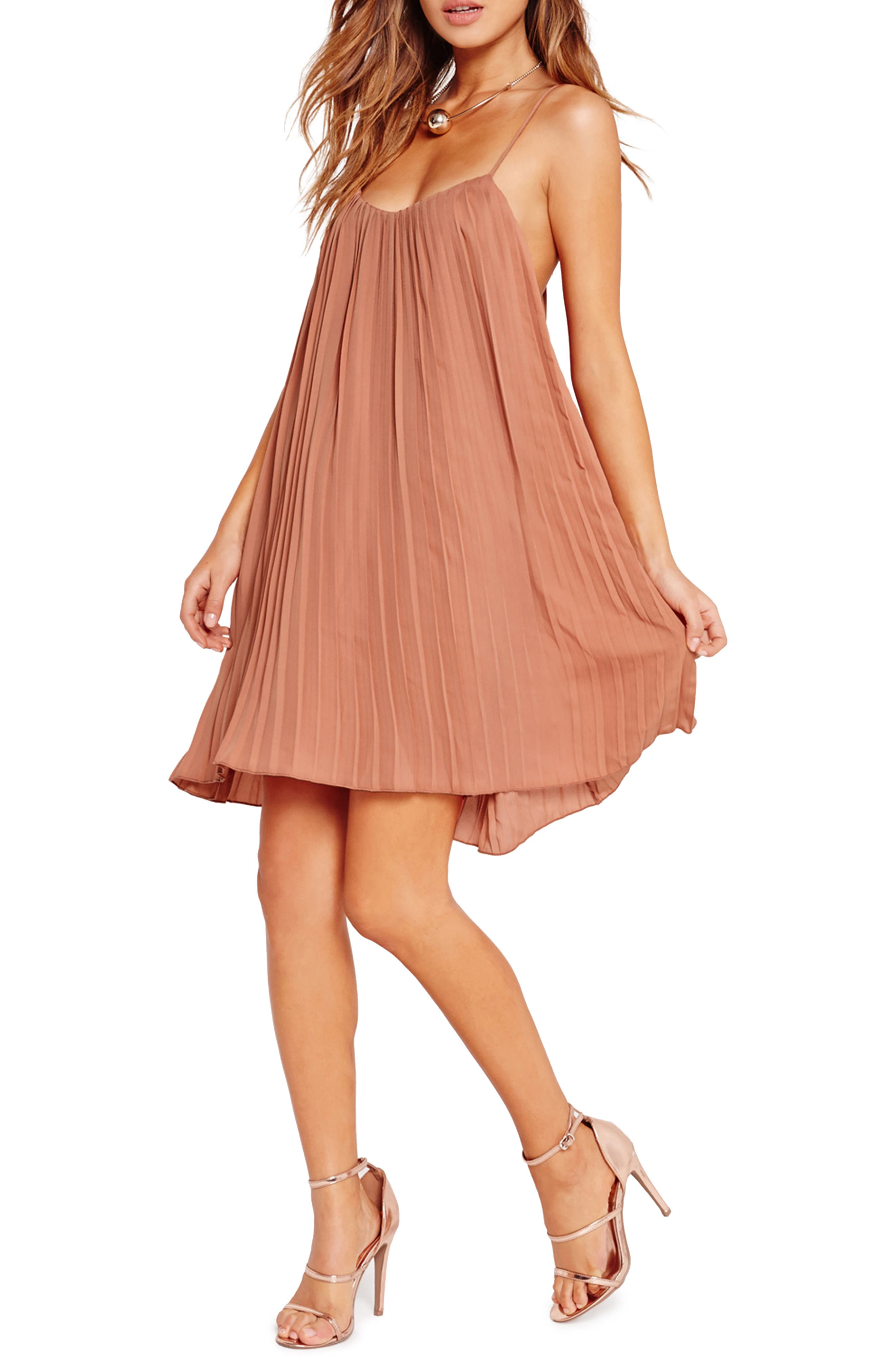 Pleated Swing Dress,                         Main,                         color, Nude