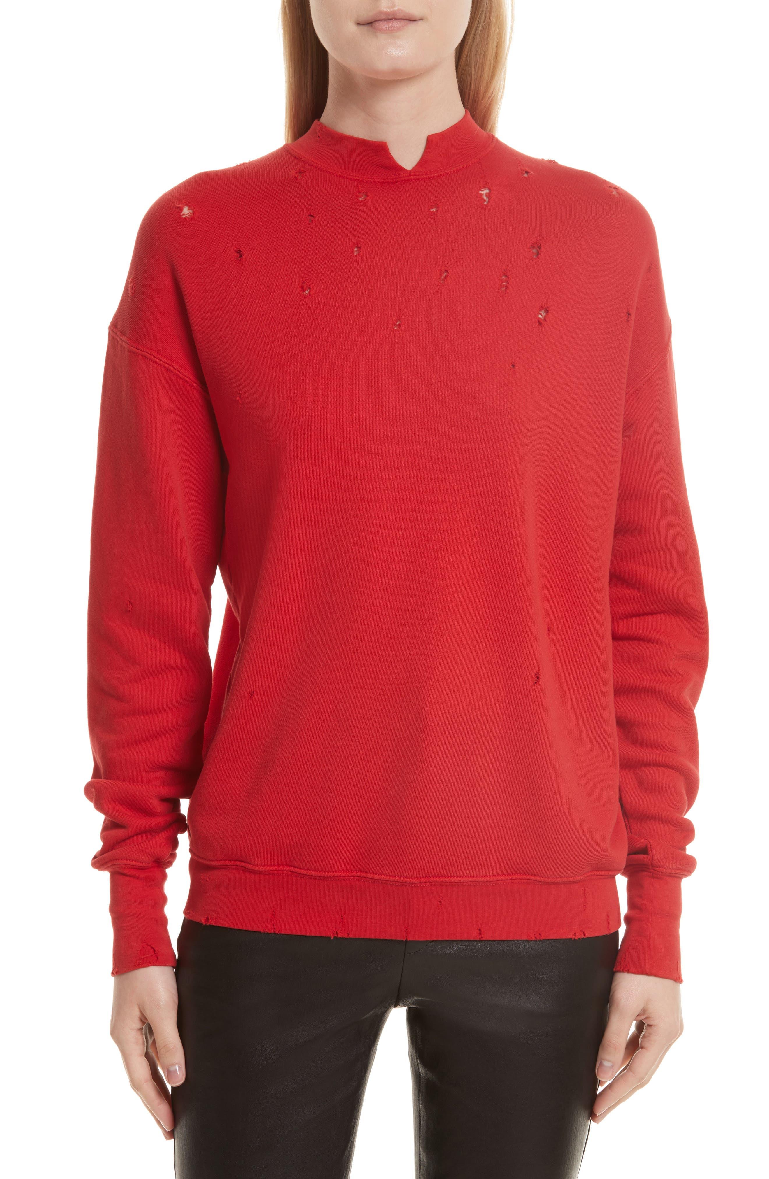 Slash Neck Destroyed Sweatshirt,                         Main,                         color, Amaryllis
