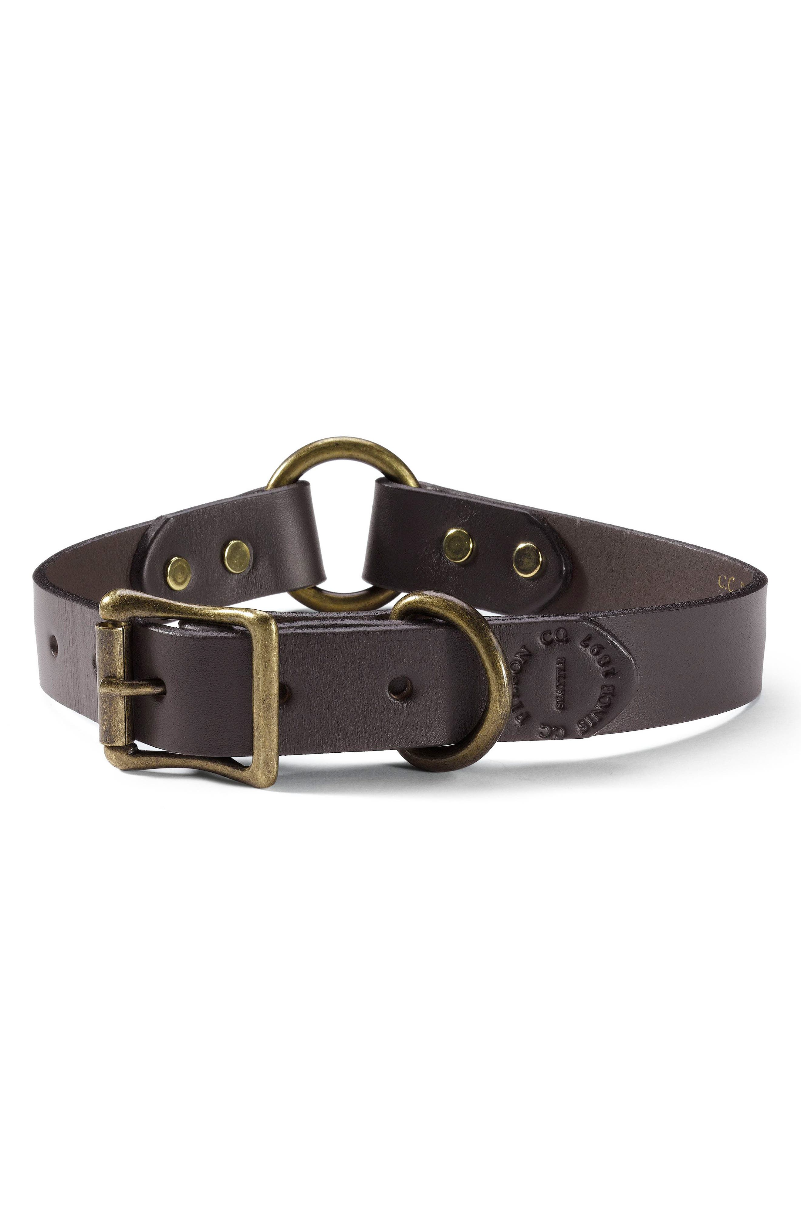 Leather Dog Collar,                         Main,                         color, Brown