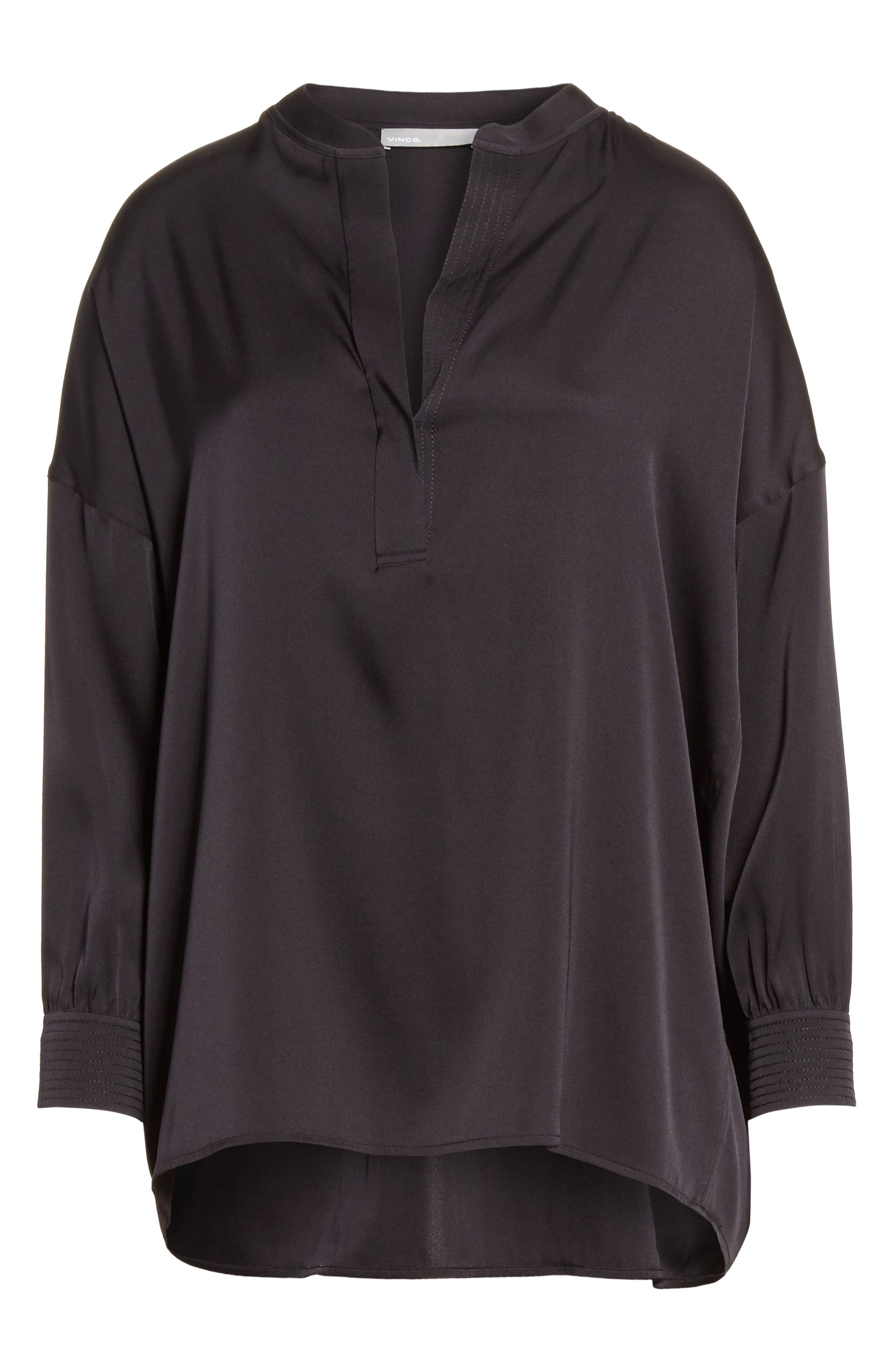 Shirred Stretch Silk Blouse,                             Alternate thumbnail 7, color,                             Black