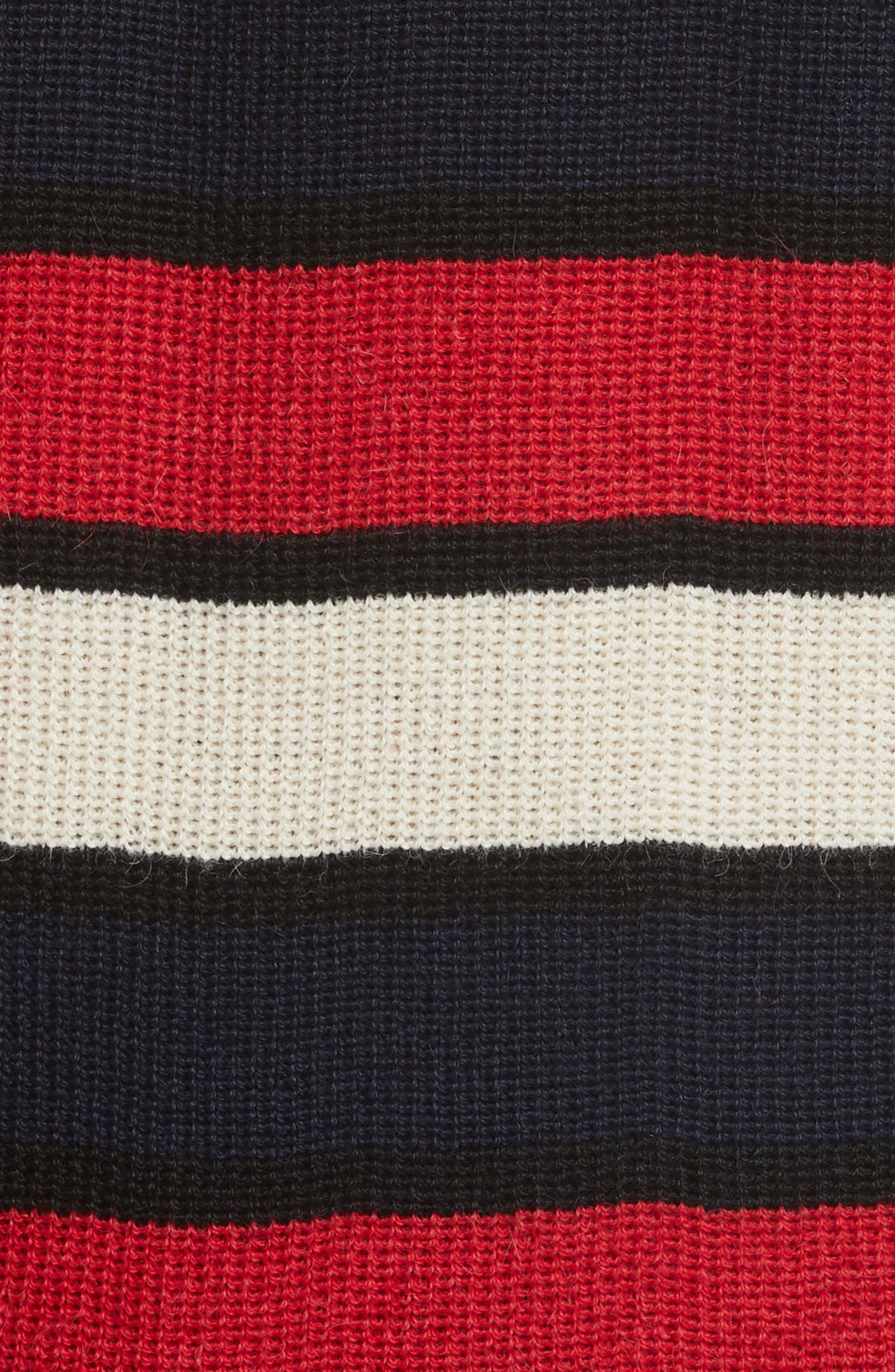 Austrie Stripe Alpaca Sweater,                             Alternate thumbnail 5, color,                             Red/ Ivory/ Navy