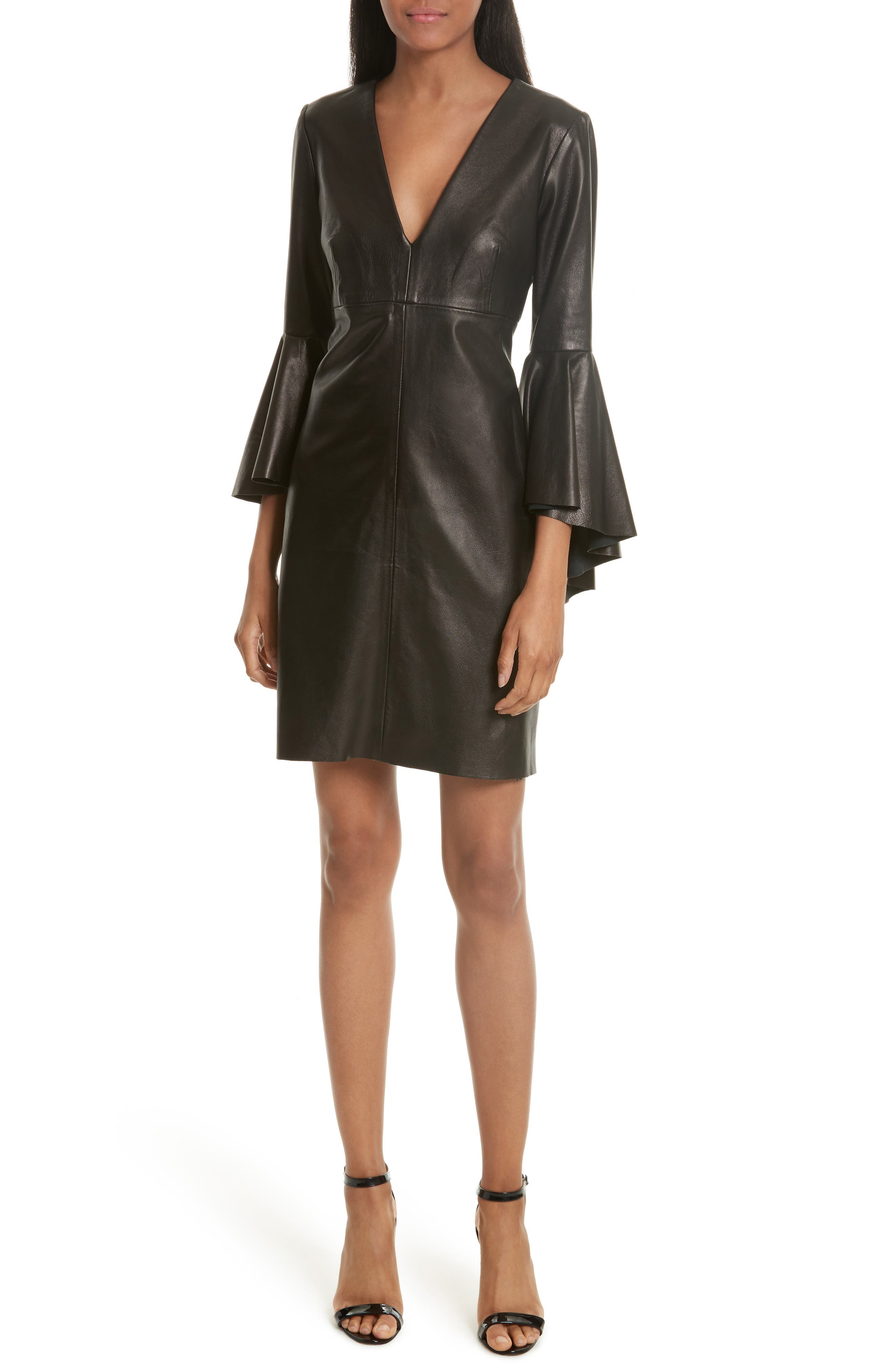 Bell Sleeve Leather Dress,                             Main thumbnail 1, color,                             Black