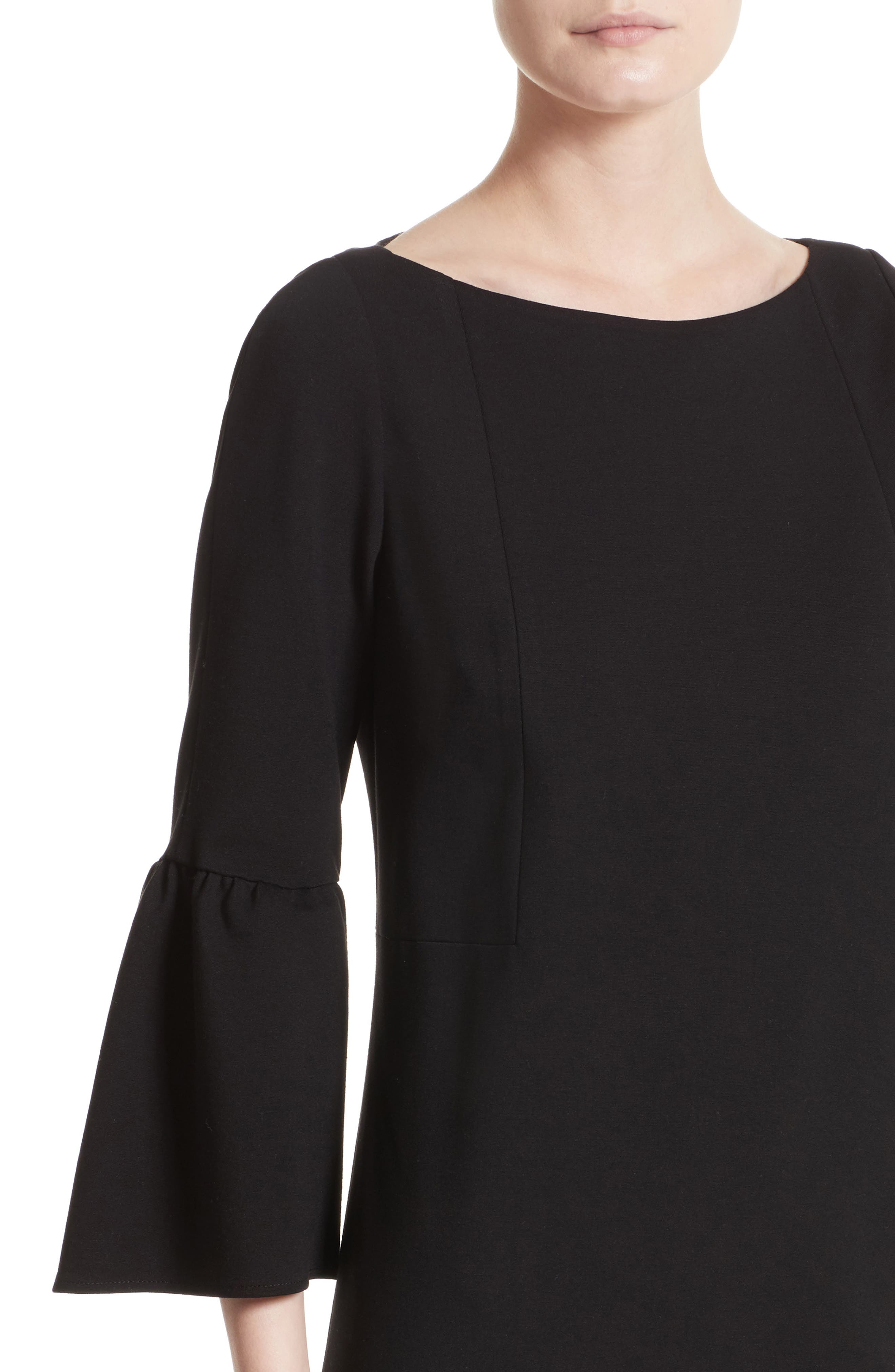 Marissa Punto Milano Dress,                             Alternate thumbnail 4, color,                             Black