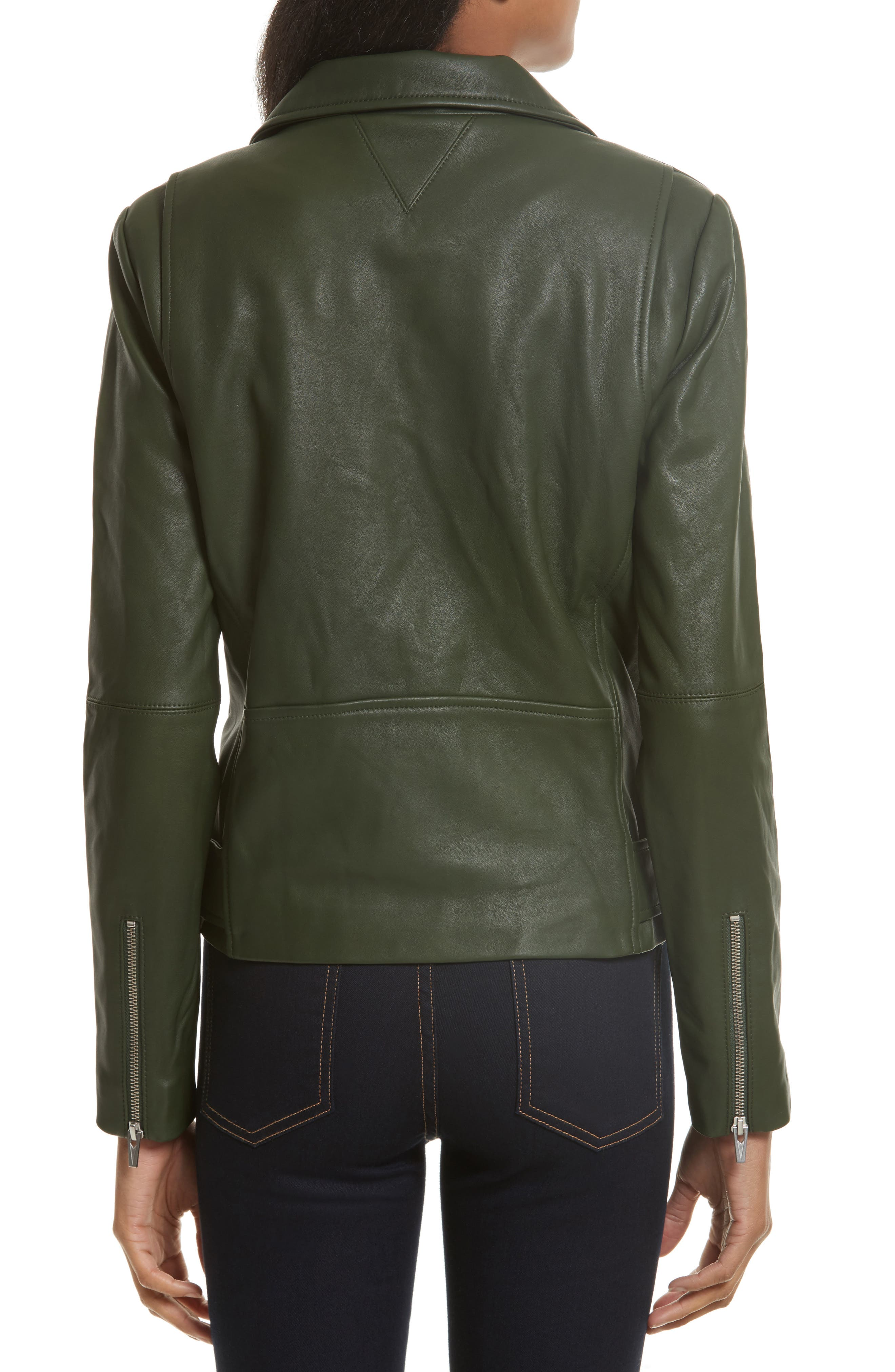 Jayne Orion Lambskin Leather Moto Jacket,                             Alternate thumbnail 2, color,                             Green