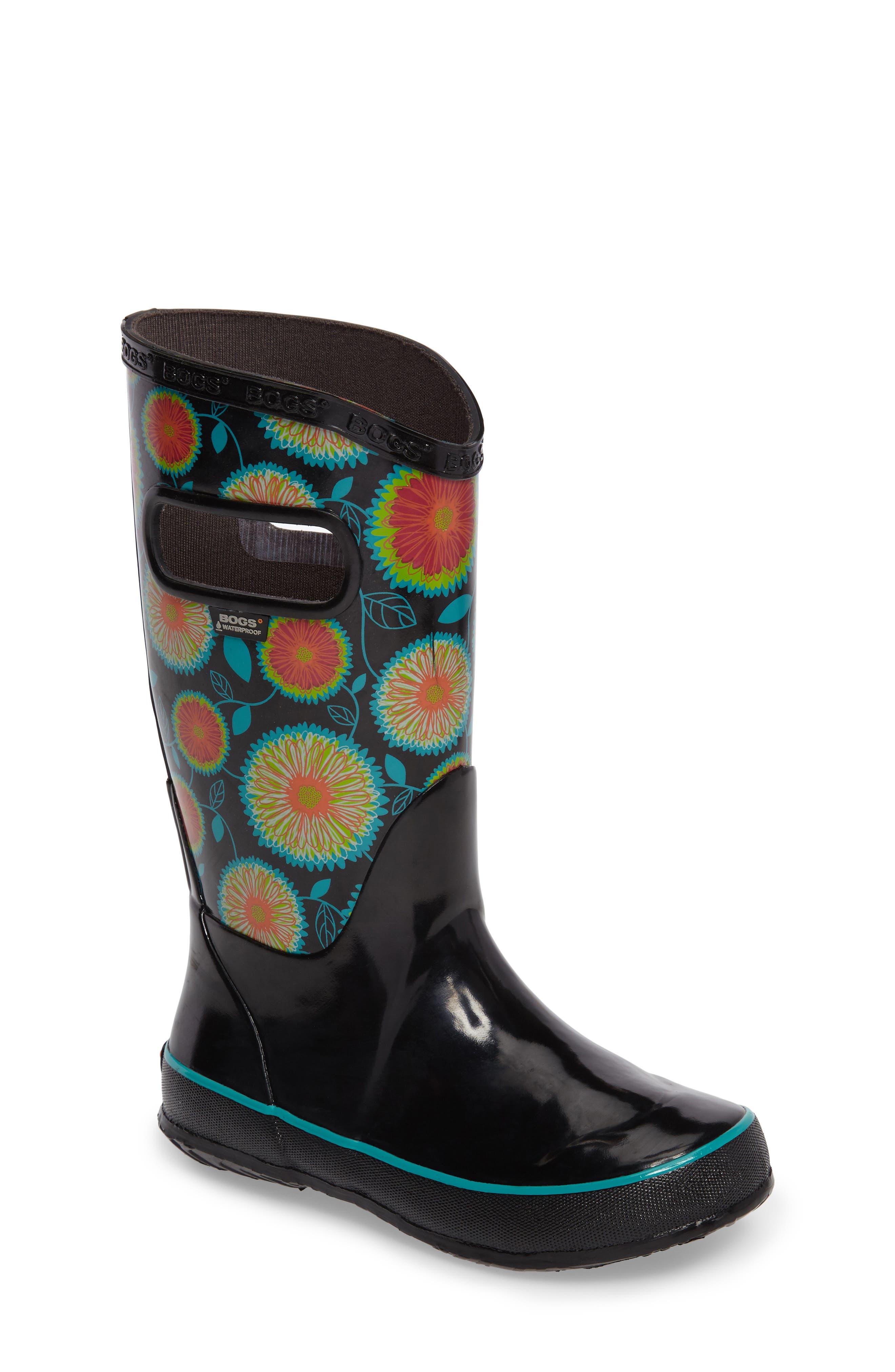 Wildflowers Waterproof Rubber Rain Boot,                             Main thumbnail 1, color,                             Black Multi