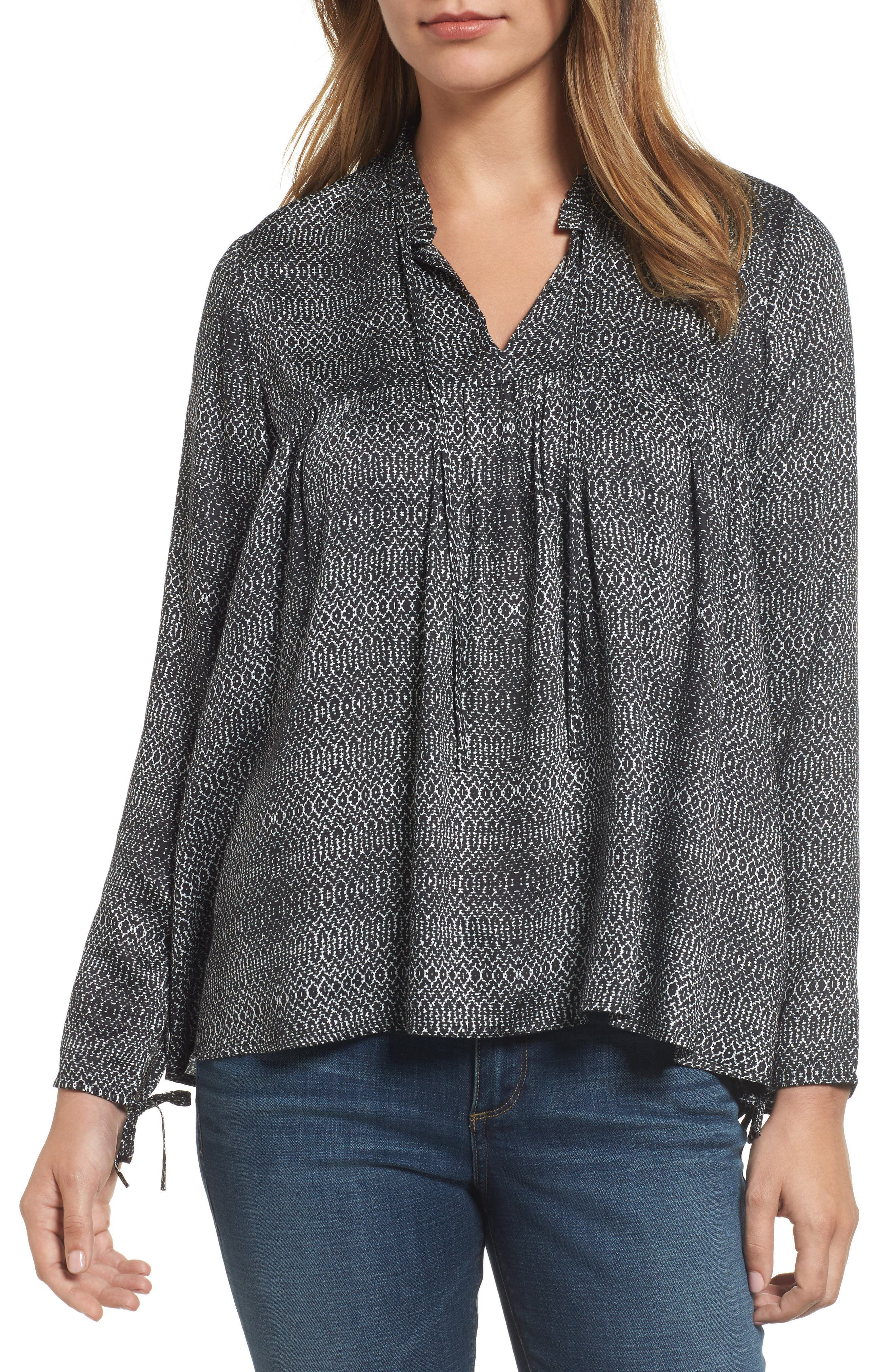 Shirred Woven Print Top,                         Main,                         color, Crackle