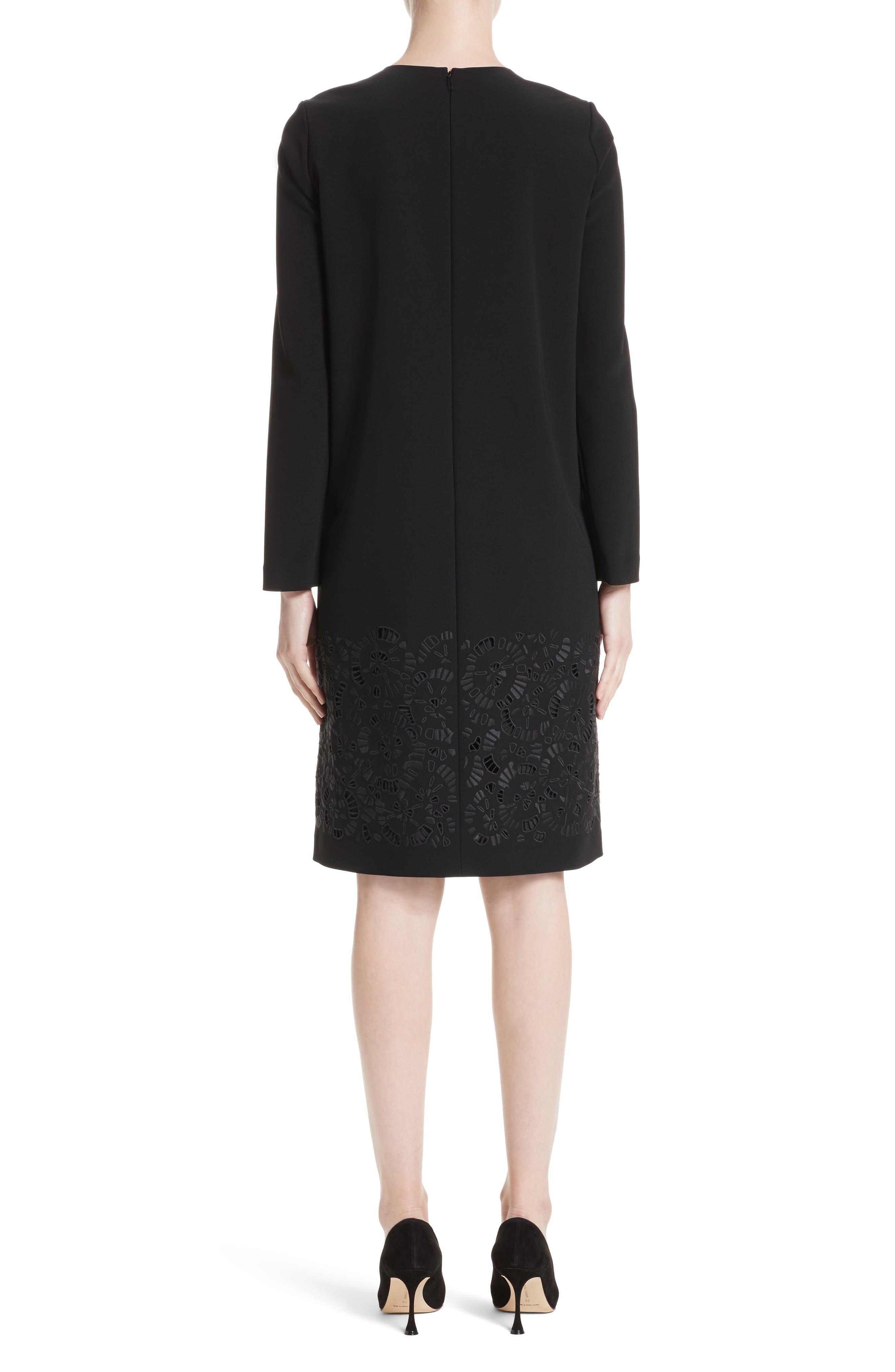 Corbin Embroidered Laser Cut Dress,                             Alternate thumbnail 2, color,                             Black