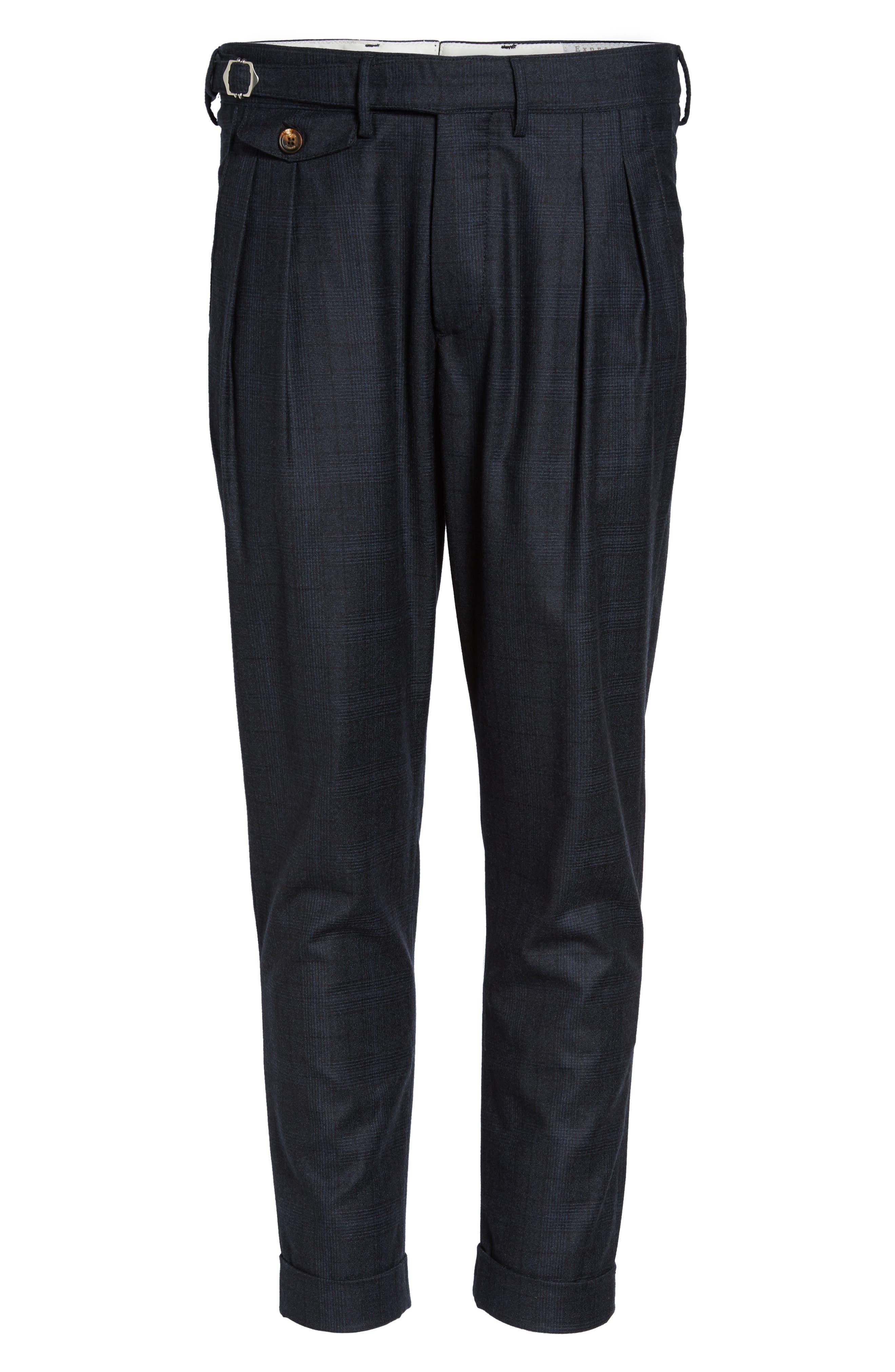 Glen Plaid Pleat Front Wool Pants,                             Alternate thumbnail 6, color,                             Navy