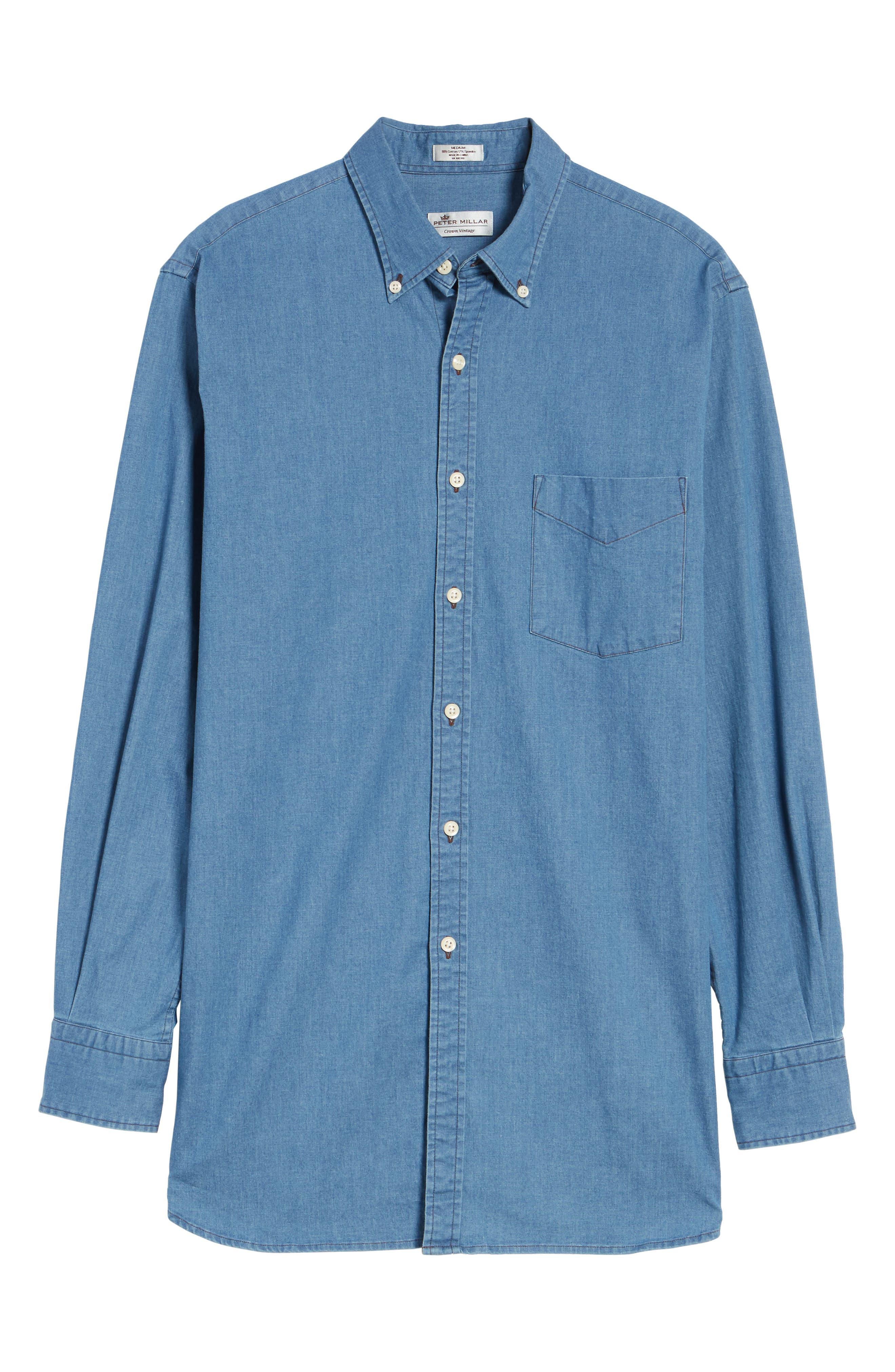 Crown Vintage Regular Fit Denim Sport Shirt,                             Alternate thumbnail 6, color,                             Indigo
