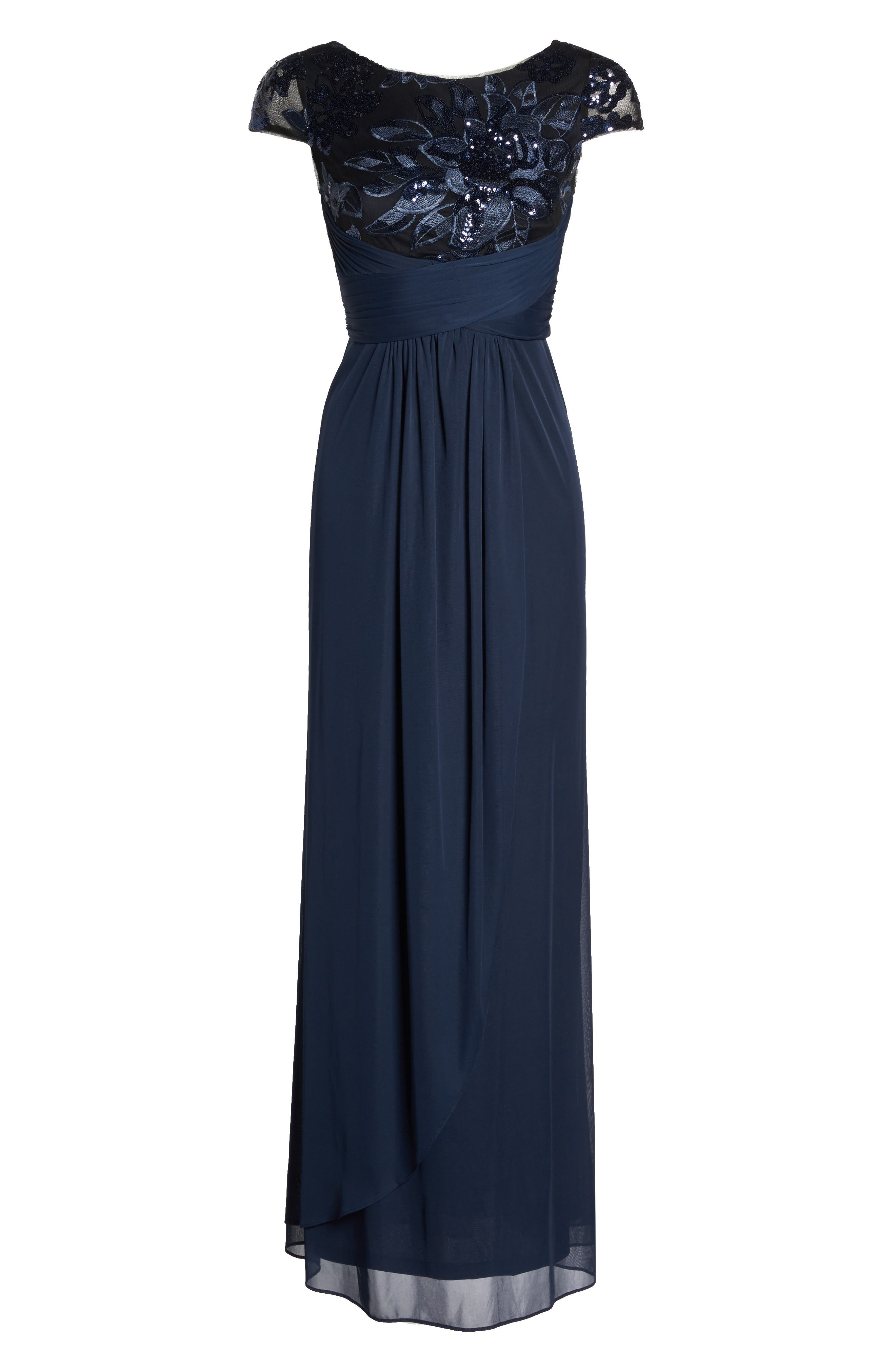 Embellished Gown,                             Alternate thumbnail 6, color,                             Navy