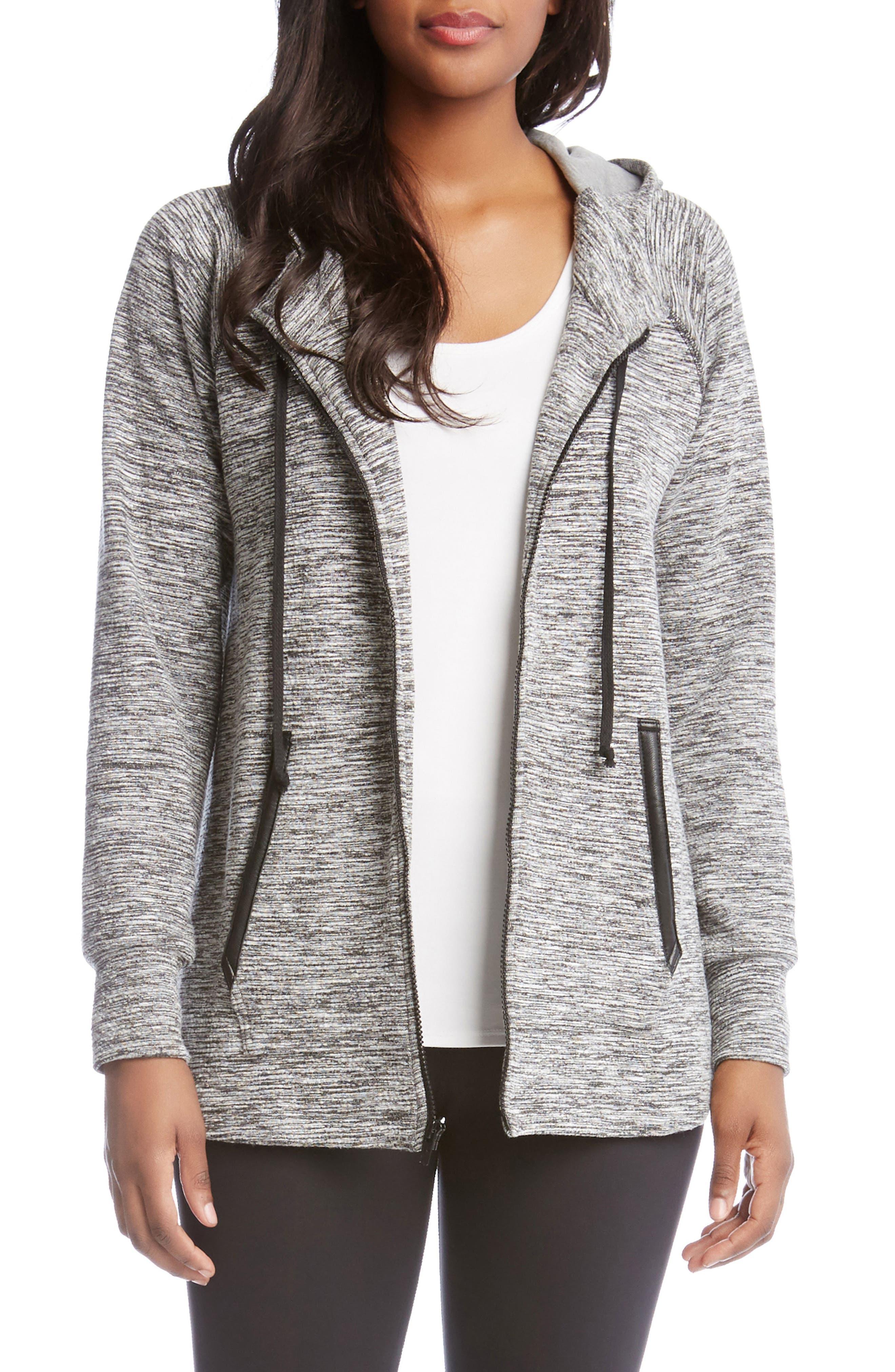 Faux Leather Trim Zip Hoodie,                         Main,                         color, Grey