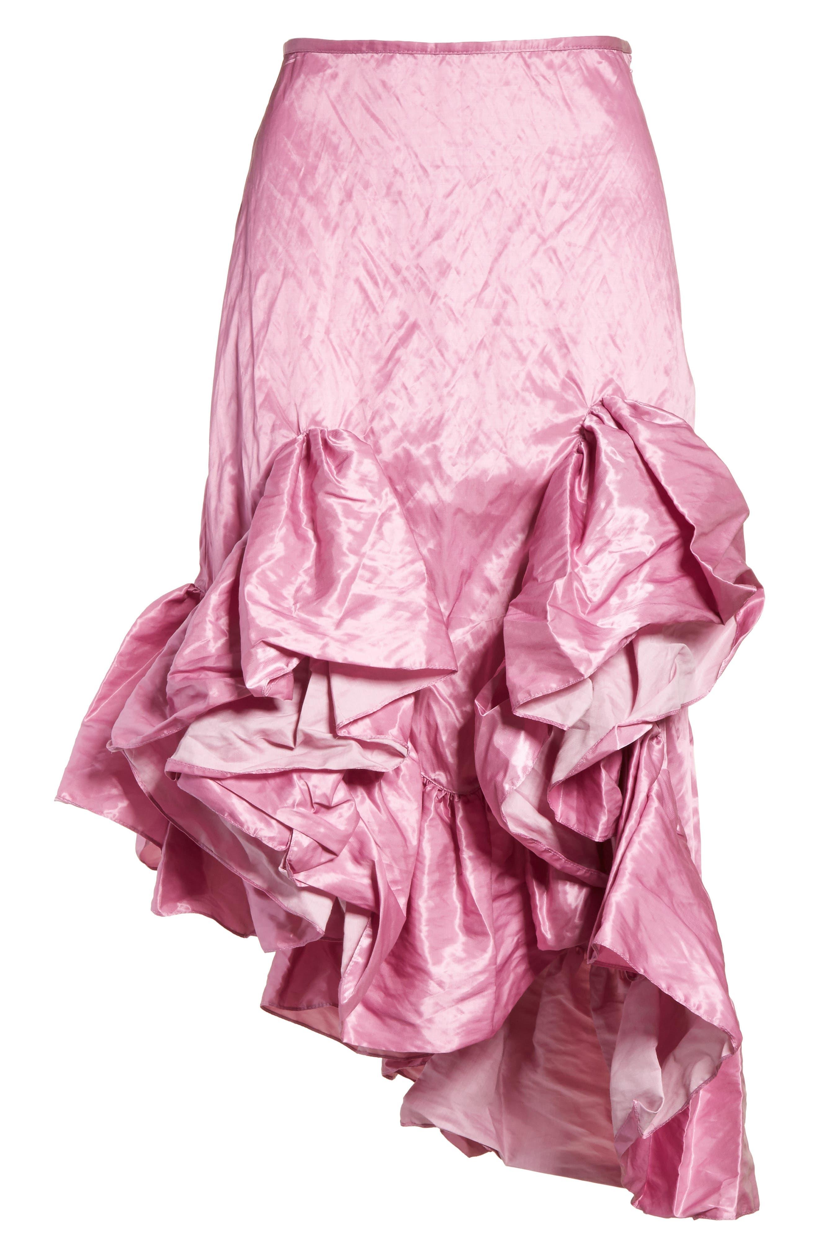 Marques'Almeida Asymmetrical Ruffle Taffeta Skirt,                             Alternate thumbnail 7, color,                             Pink