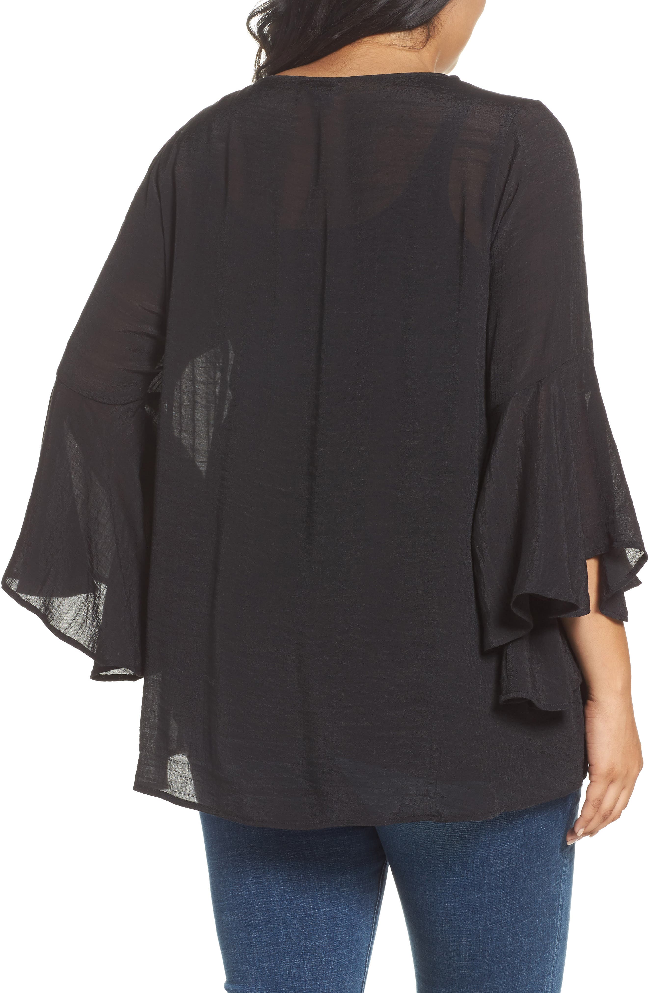 Bell Sleeve Peasant Blouse,                             Alternate thumbnail 2, color,                             Black
