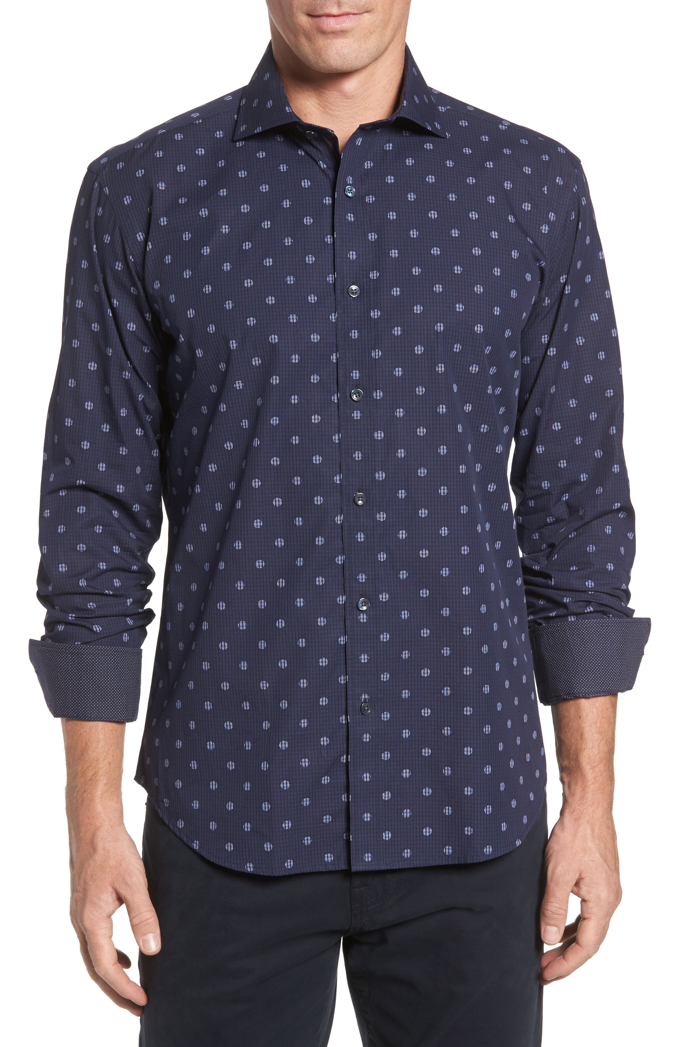 Shaped Fit Dot Check Sport Shirt,                         Main,                         color, Midnight
