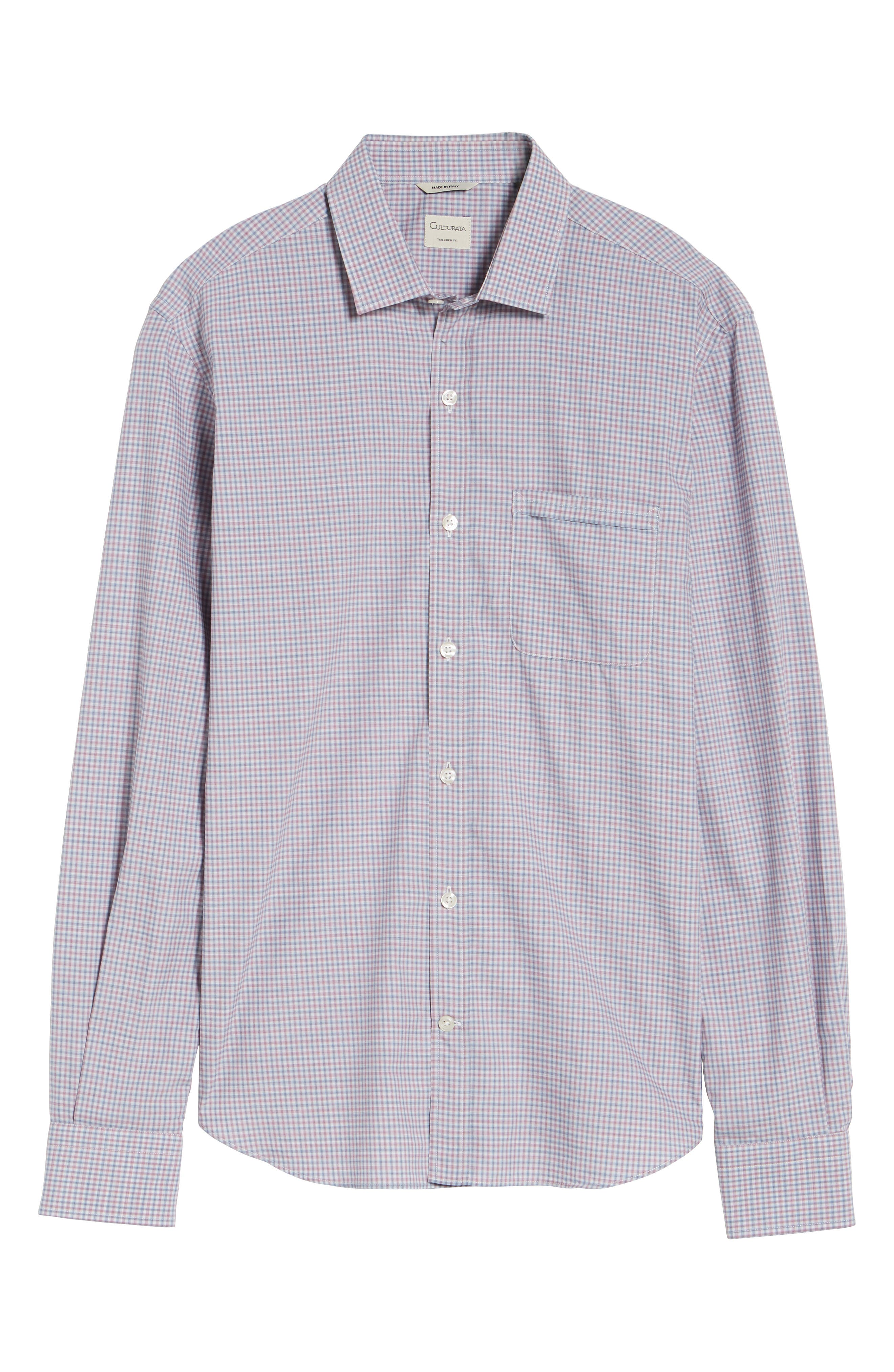 Alternate Image 6  - Culturata Trim Fit Mini Plaid Sport Shirt