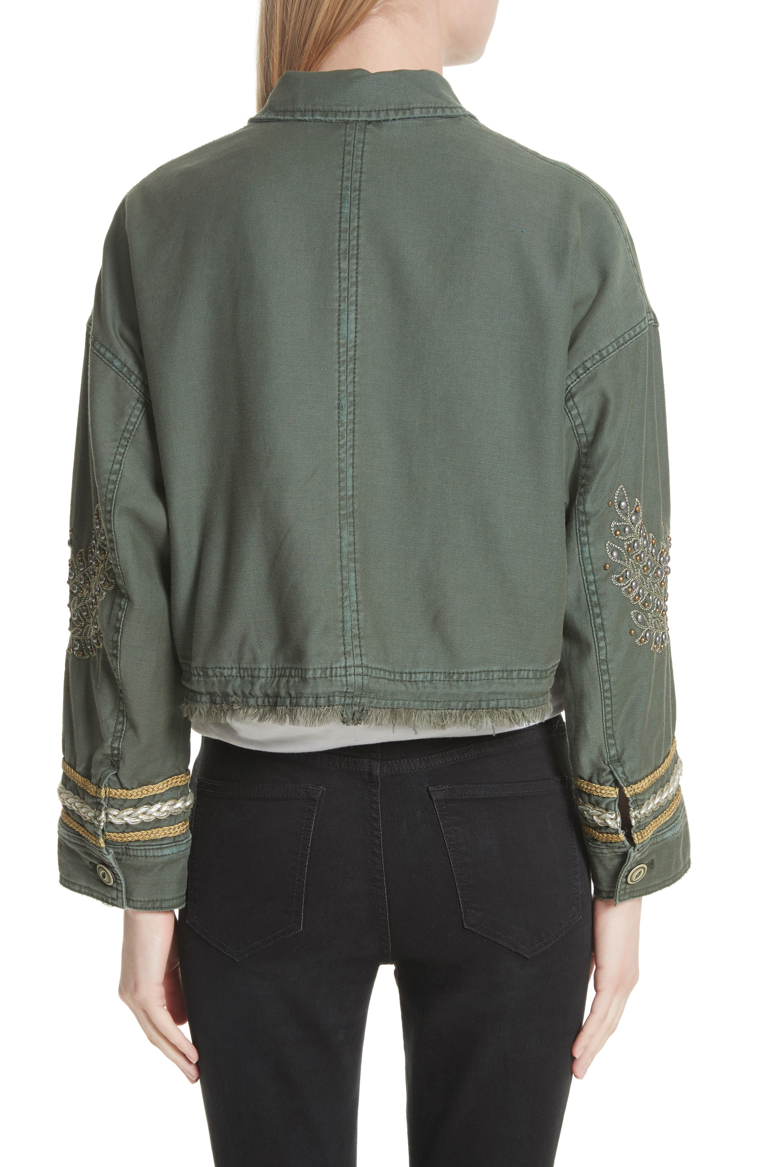 Crop Military Jacket,                             Alternate thumbnail 2, color,                             Moss