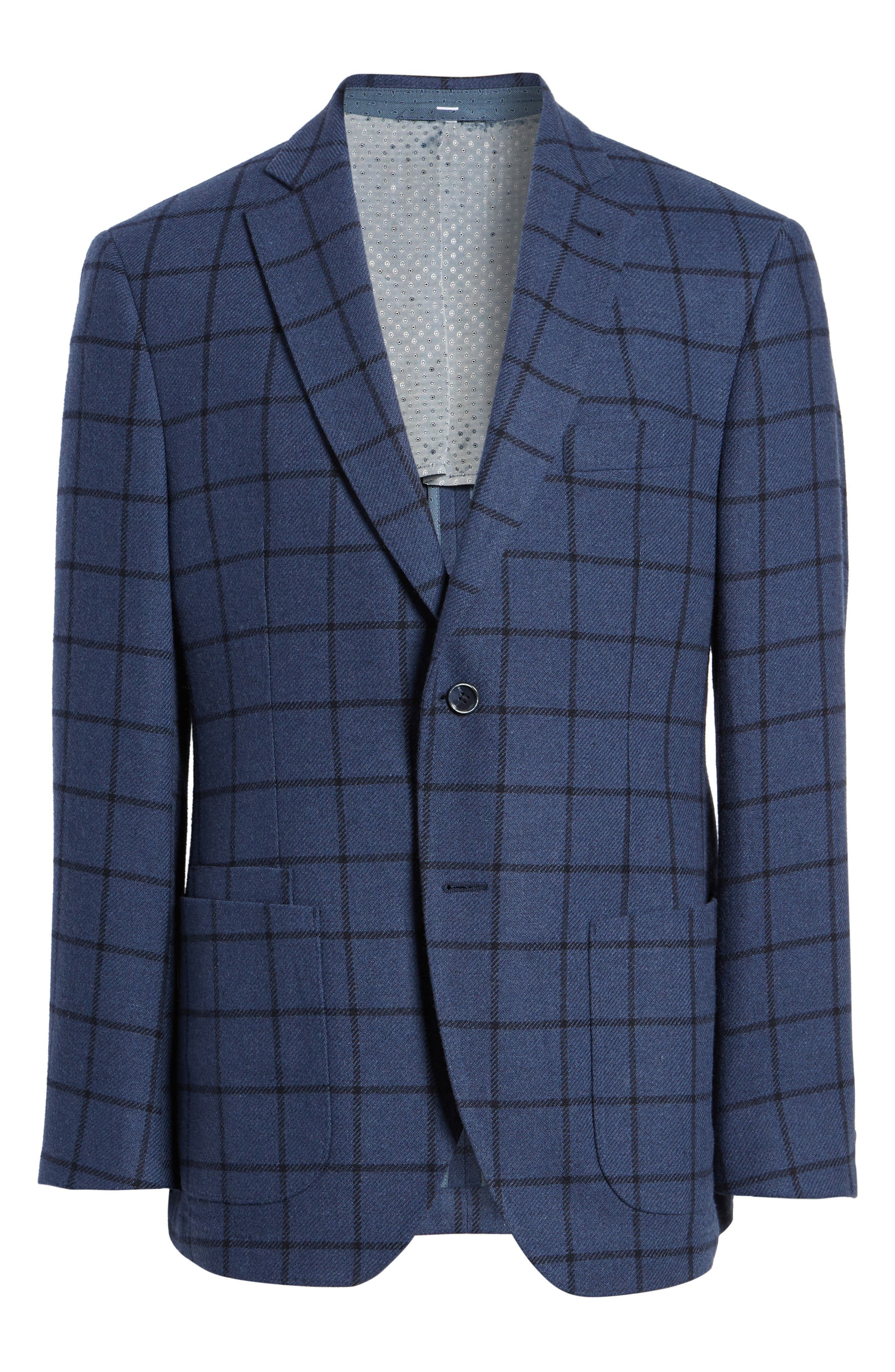 Alternate Image 6  - JKT New York Trim Fit Windowpane Wool Blend Sport Coat
