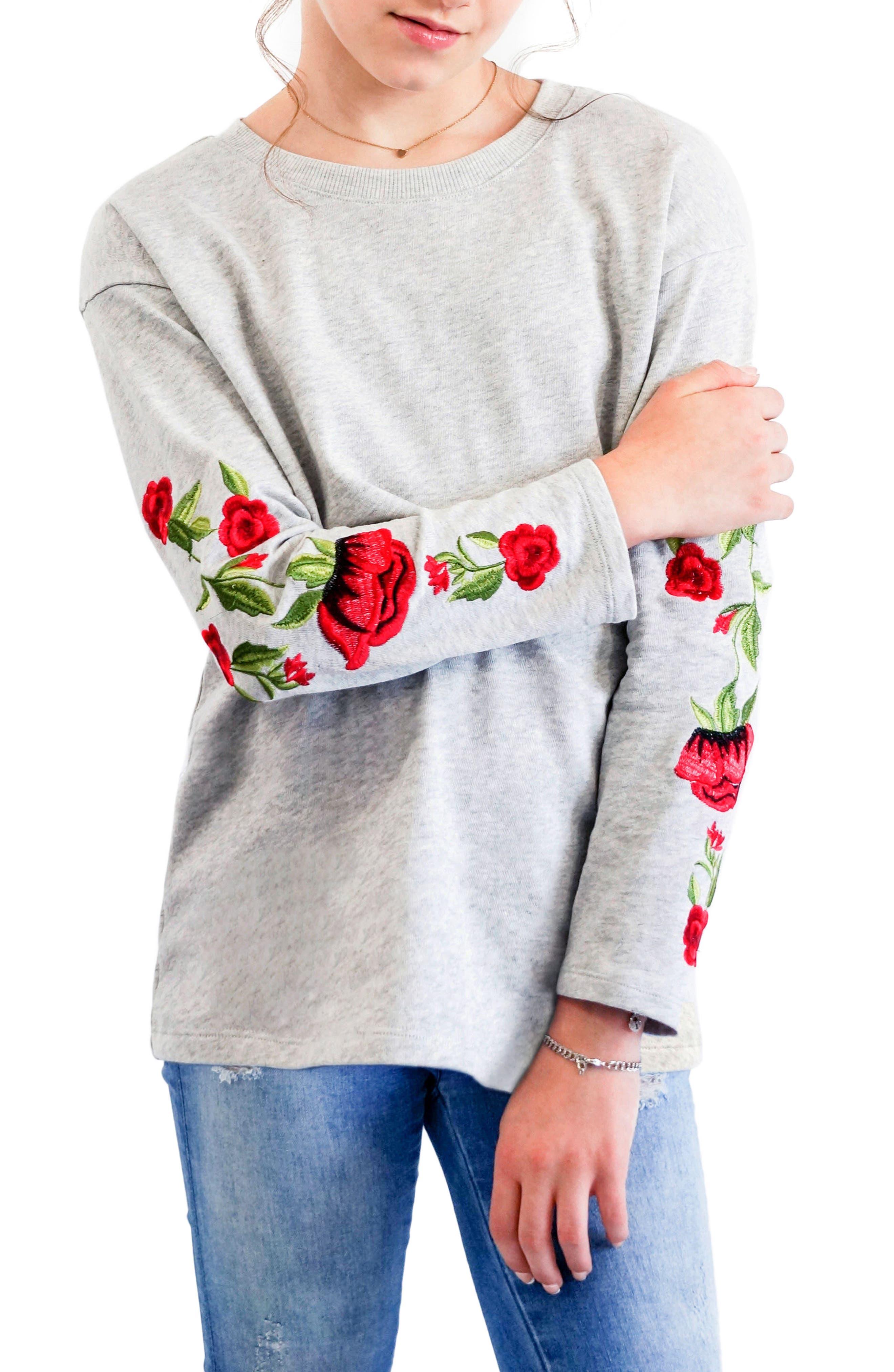 Alternate Image 3  - Truly Me Embroidered Sweatshirt (Big Girls)