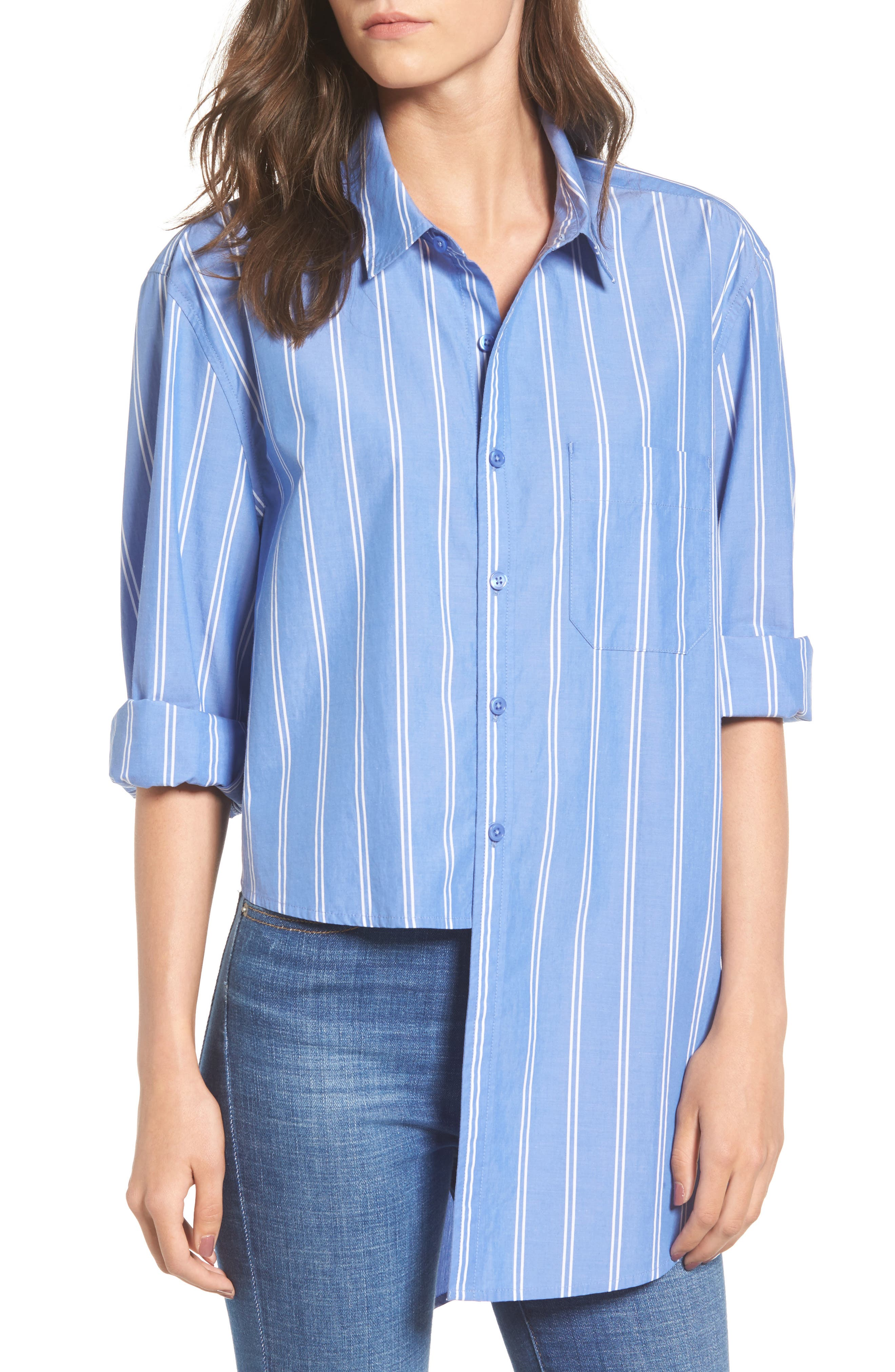 Stripe Step Hem Shirt,                             Main thumbnail 1, color,                             Blue Regatta May Stripe