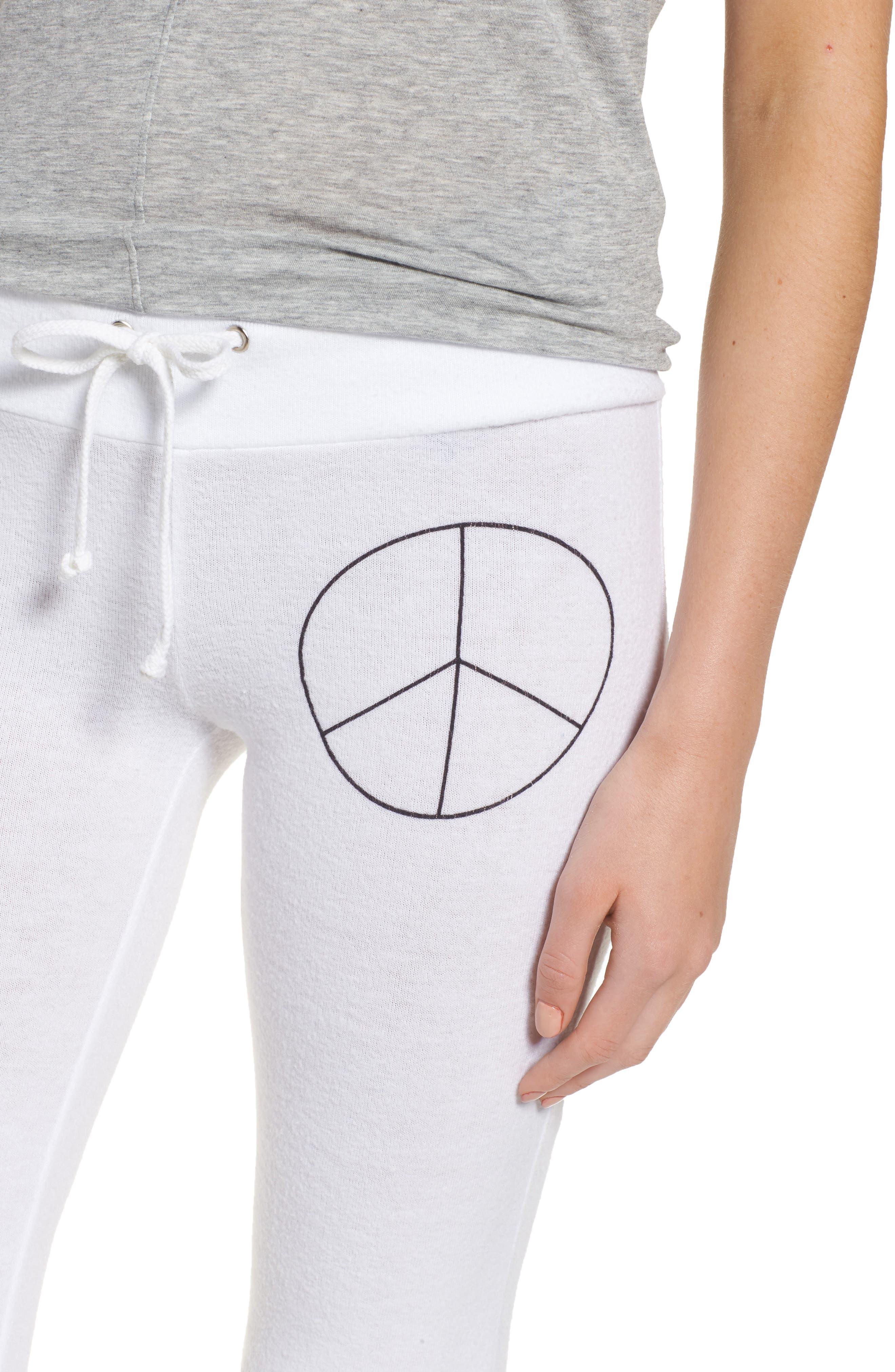 Peace Track Pants,                             Alternate thumbnail 5, color,                             White